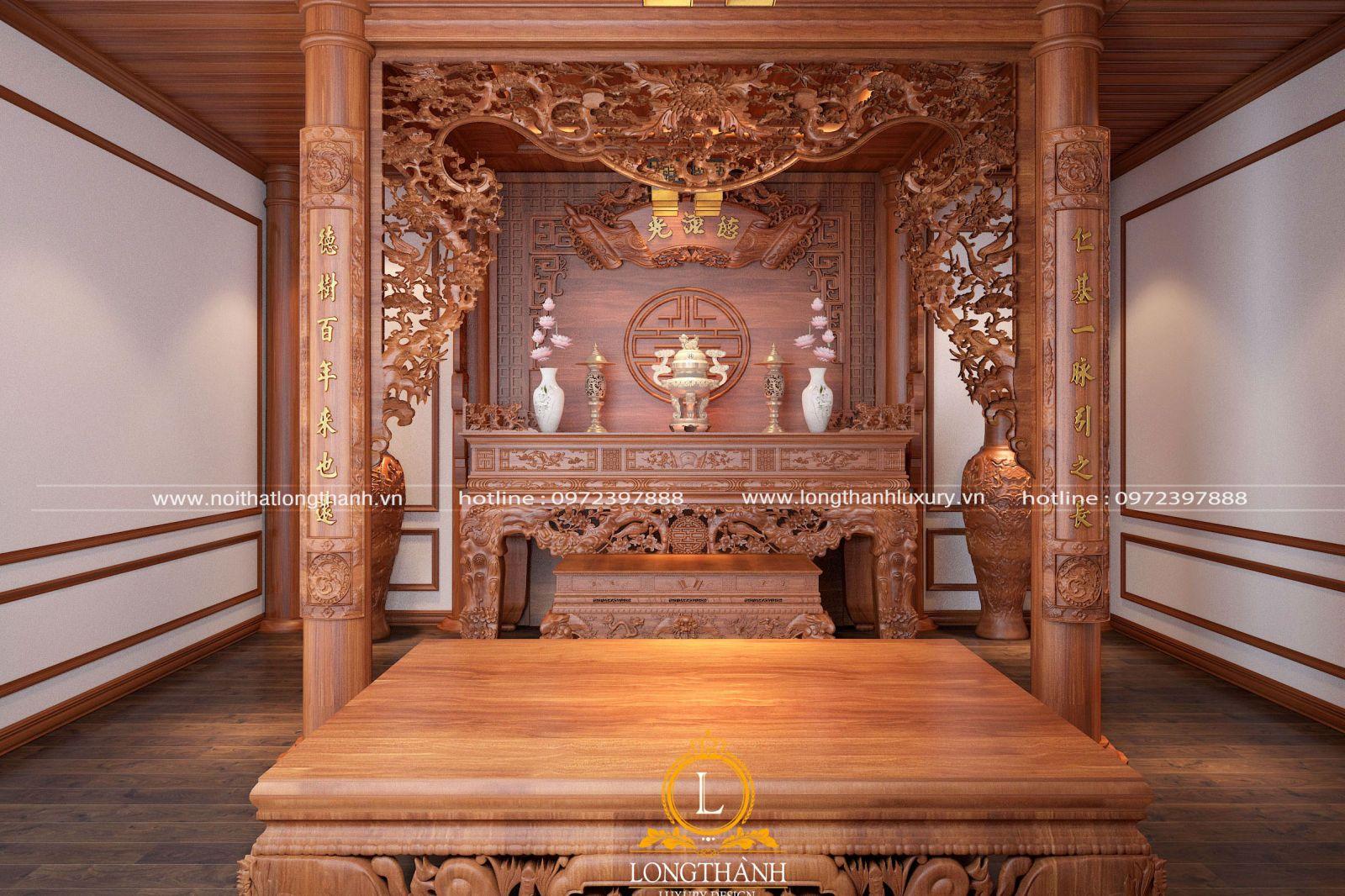 Mẫu phòng thờ tân cổ điển gỗ Gõ đỏ LT01