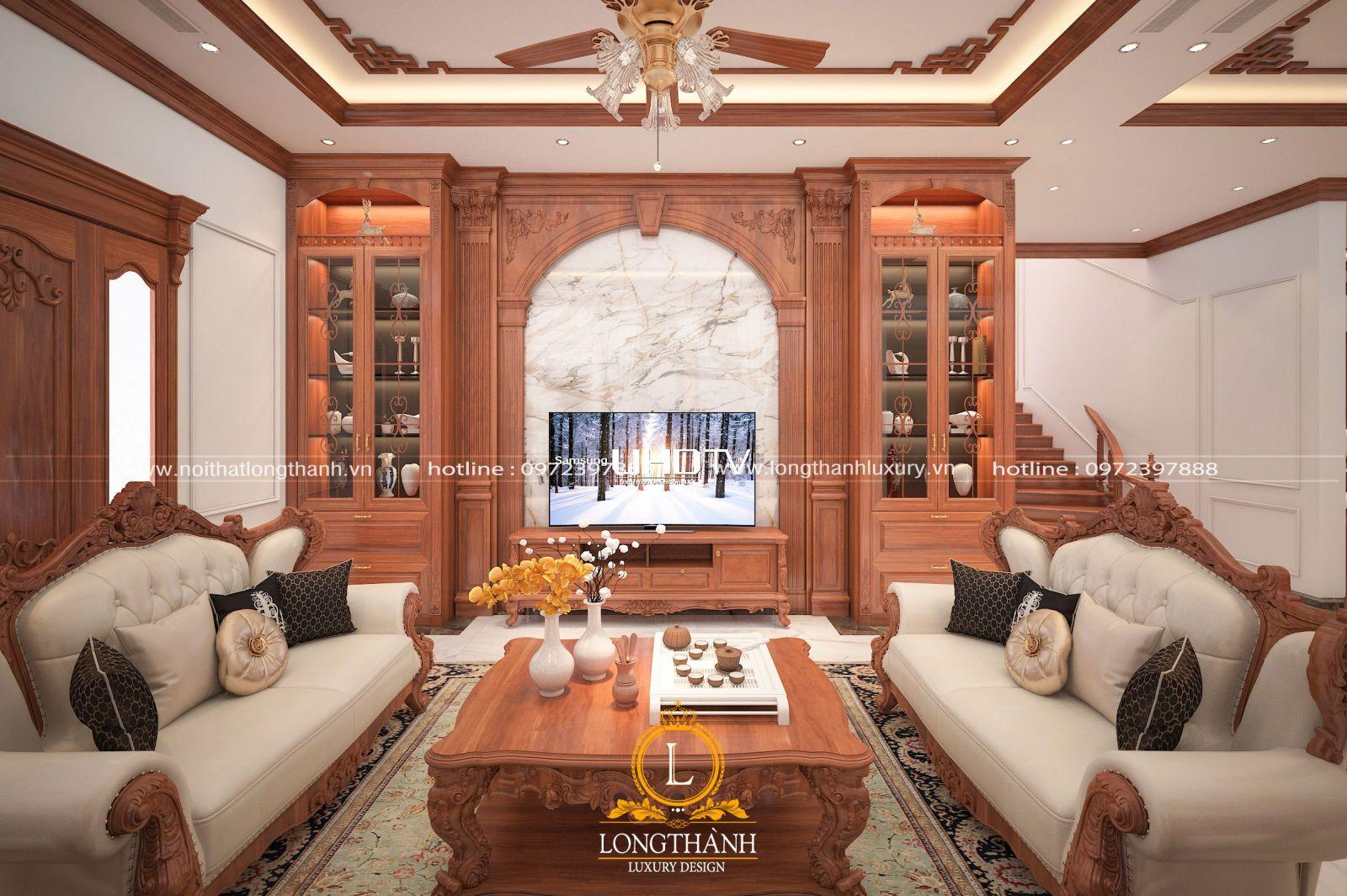 Nội thất phòng khách gỗ tự nhiên | Nâng tầm giá trị không gian