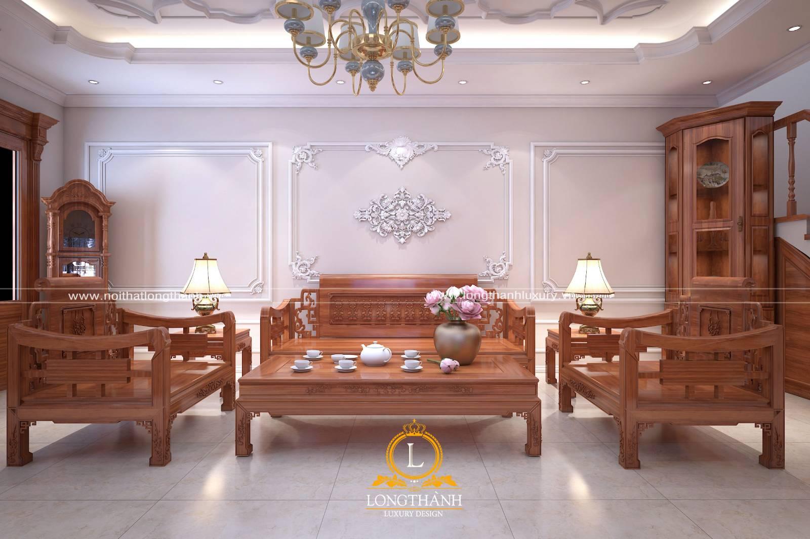 Sofa phòng khách bằng gỗ tự nhiên, vừa đẹp vừa sang