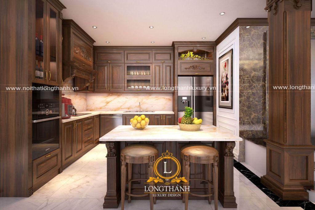 Tủ bếp gỗ tự nhiên sơn PU LT61