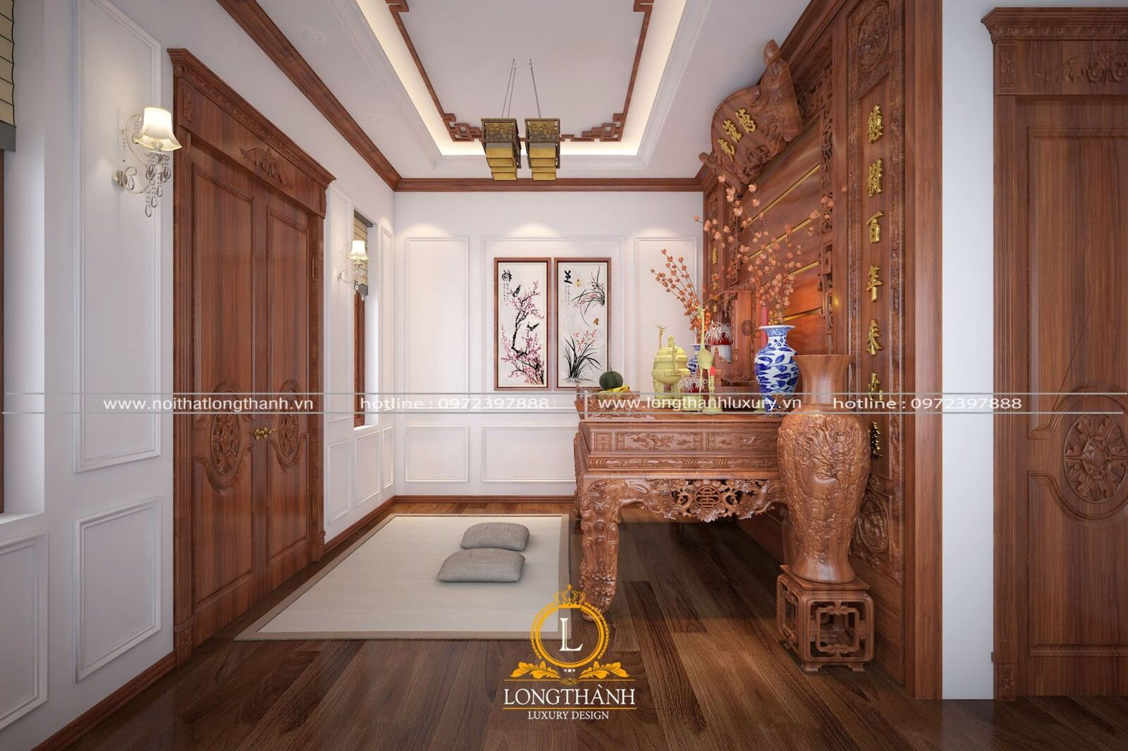 Mẫu phòng thờ đẹp cho nhà rộng hợp tín ngưỡng người Việt