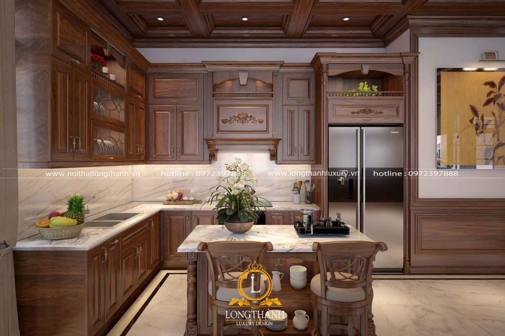 Tủ bếp gỗ tự nhiên Óc chó LT25