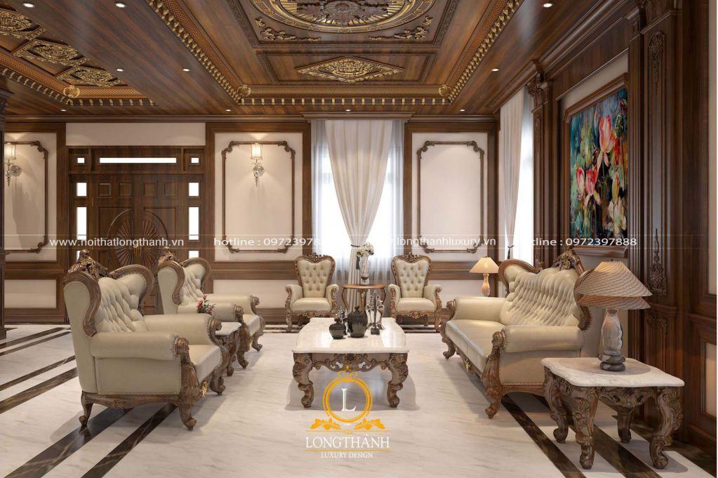 Mẫu sofa phòng khách gỗ tự nhiên phong cách tân cổ điển
