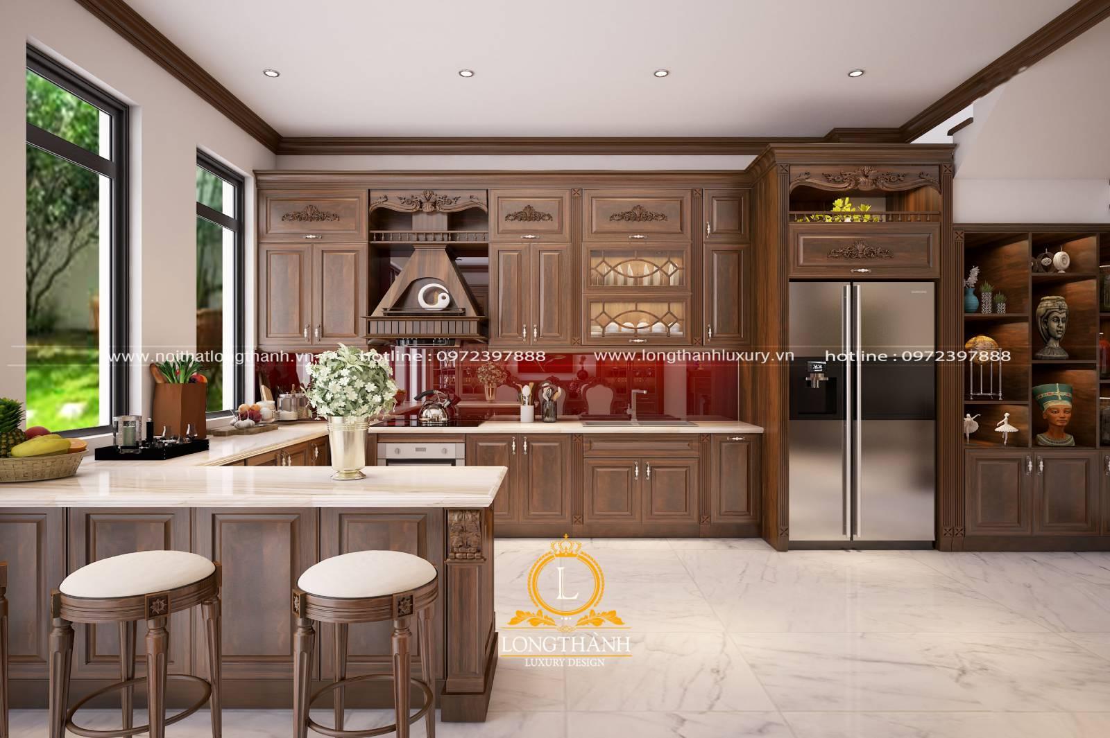 Tủ bếp gỗ Gõ LT10