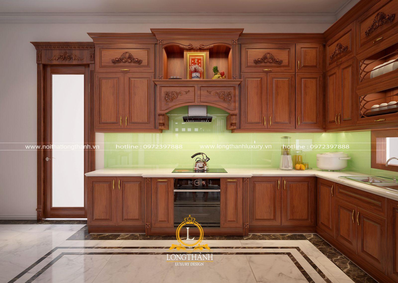 Tủ bếp gỗ Gõ LT12