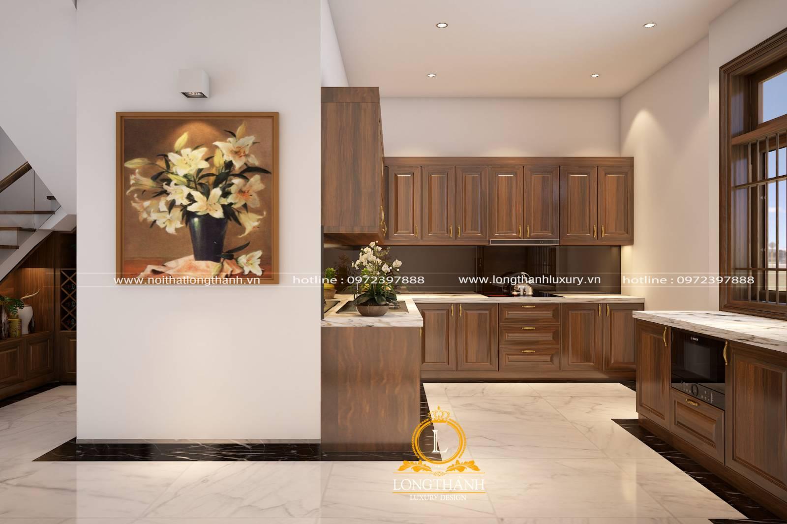 Tủ bếp gỗ Gõ LT26
