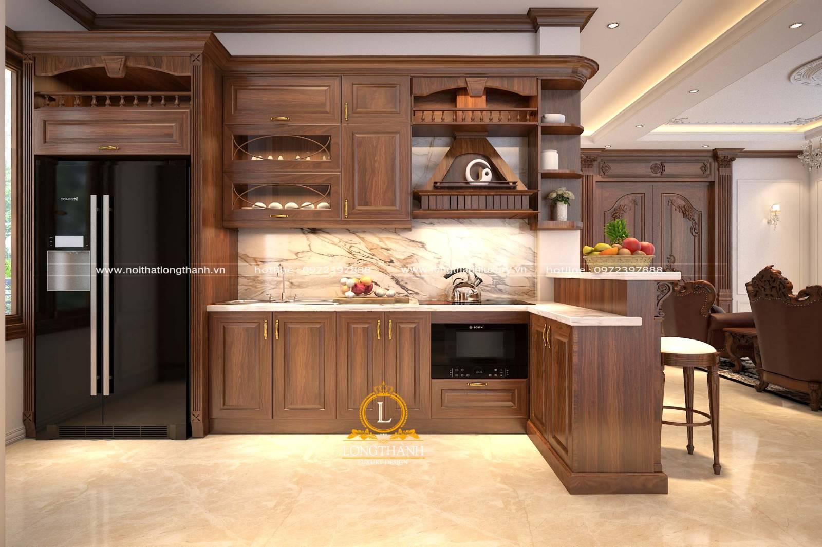 Tủ bếp gỗ Gõ LT28