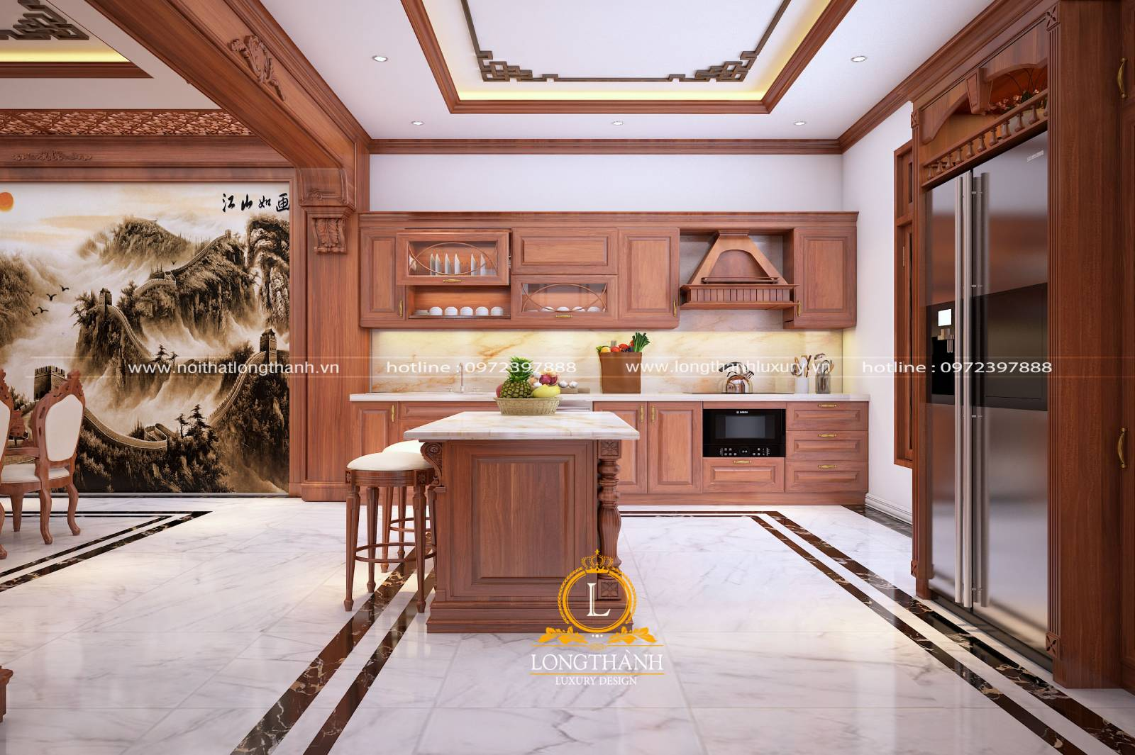 Tủ bếp gỗ Gõ LT41