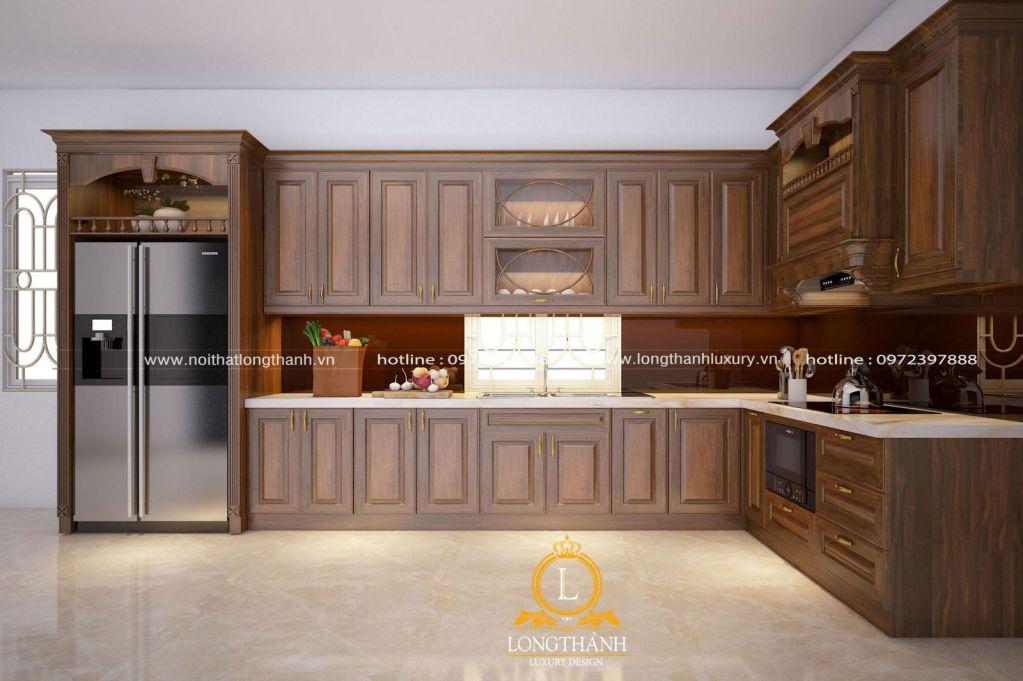 Tủ bếp gỗ tự nhiên Óc chó LT27