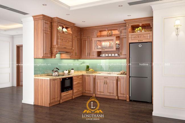 Tủ bếp gỗ tự nhiên sơn PU LT49