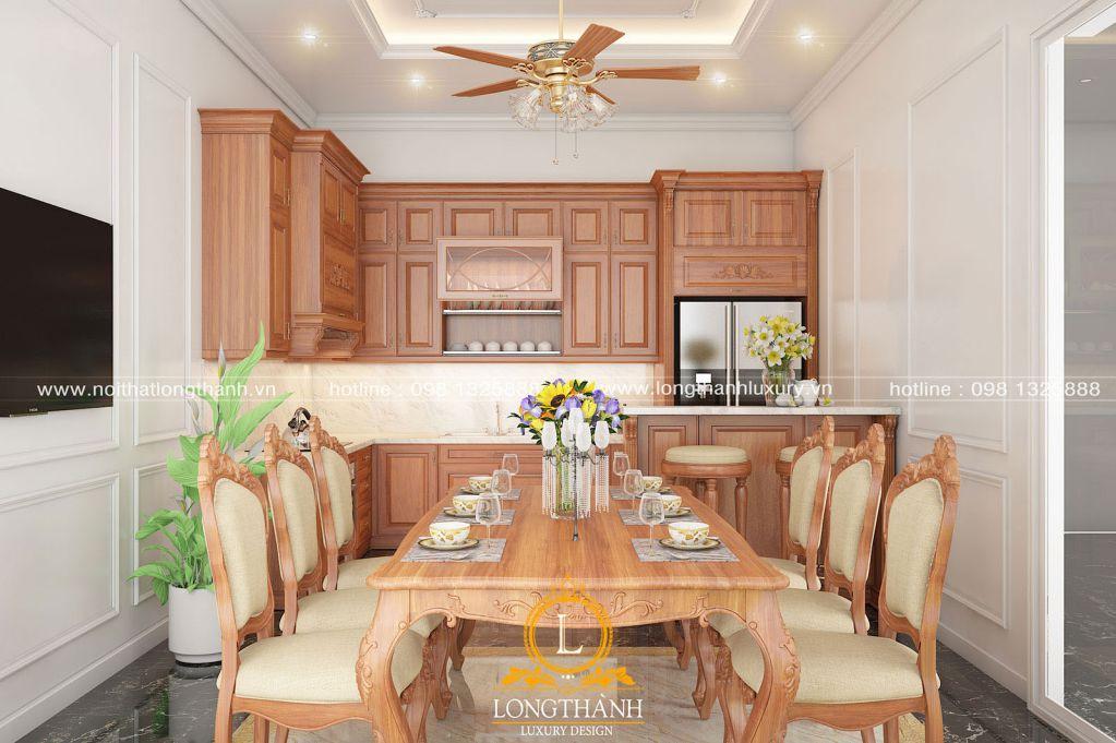 Thiết kế tủ bếp tân cổ điển gỗ Hương cao cấp đồng bộ với phòng bếp