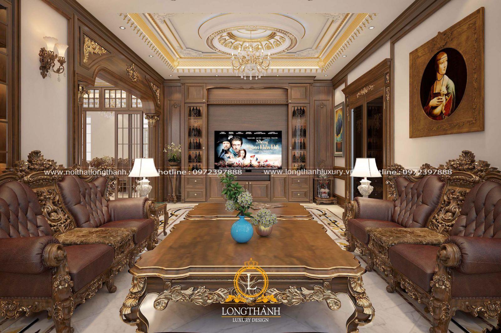 Tủ trang trí phòng khách tân cổ điển