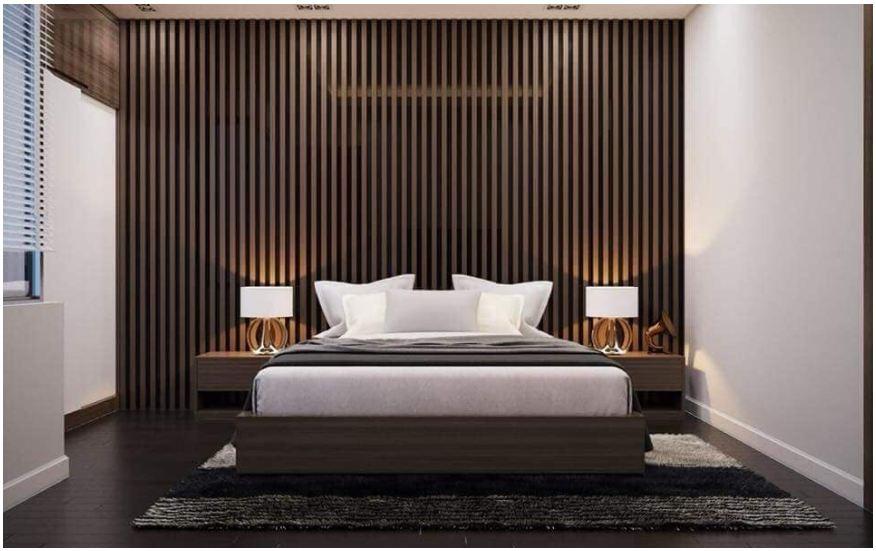 Mẫu vách ốp tường gỗ Laminate cho phòng ngủ thêm độc đáo