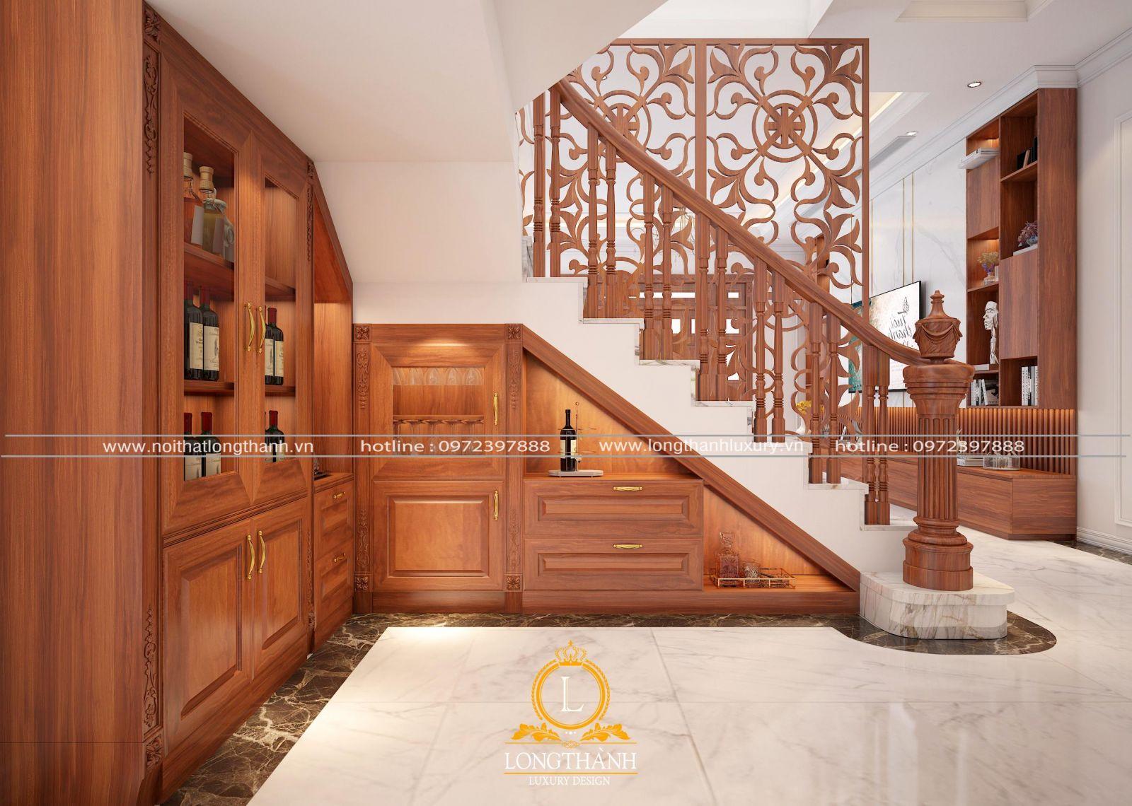 Sử dụng tủ rượu âm tường làm cho không gian phòng khách biệt thự thêm độc đáo
