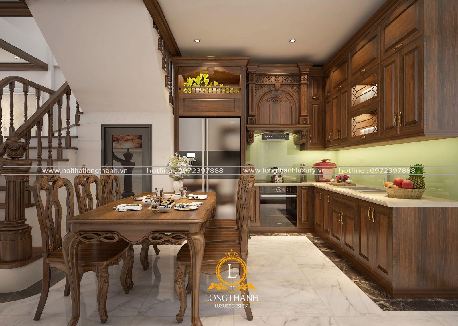 tủ bếp gỗ tự nhiên sơn PU LT41 góc nhìn số 2