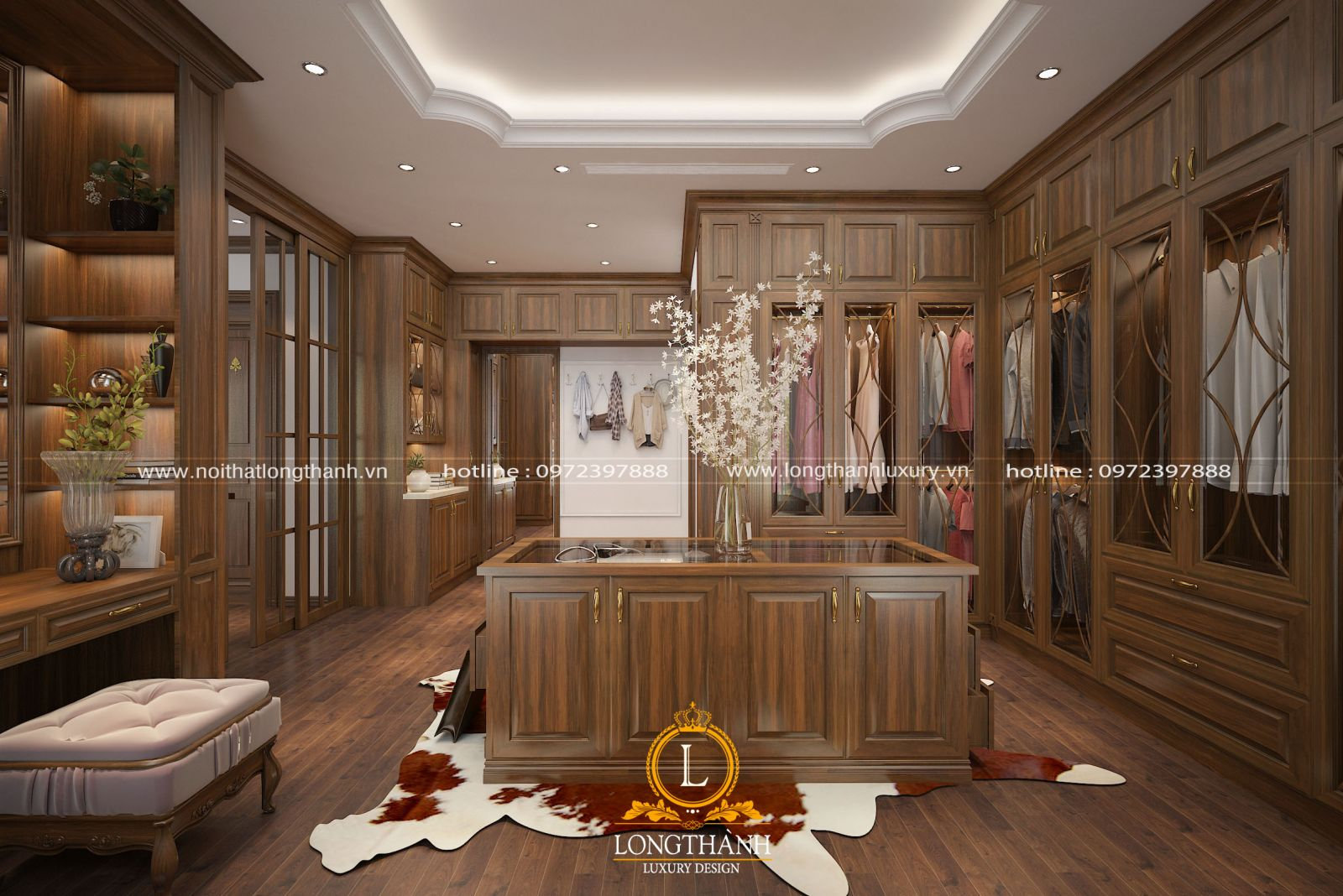 Phòng thay đồ được thiết kế rộng rãi giúp gia chủ trưng bày những món đồ đắt giá