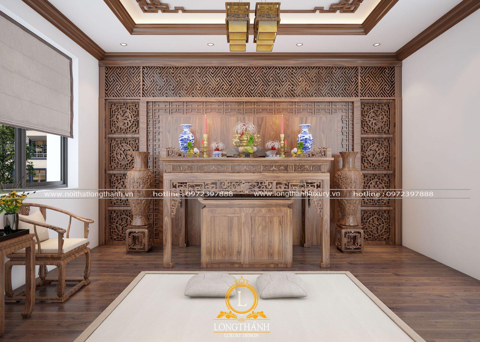 Không gian nội thất phòng thờ biệt thự đẹp, sang trọng với gỗ tự nhiên