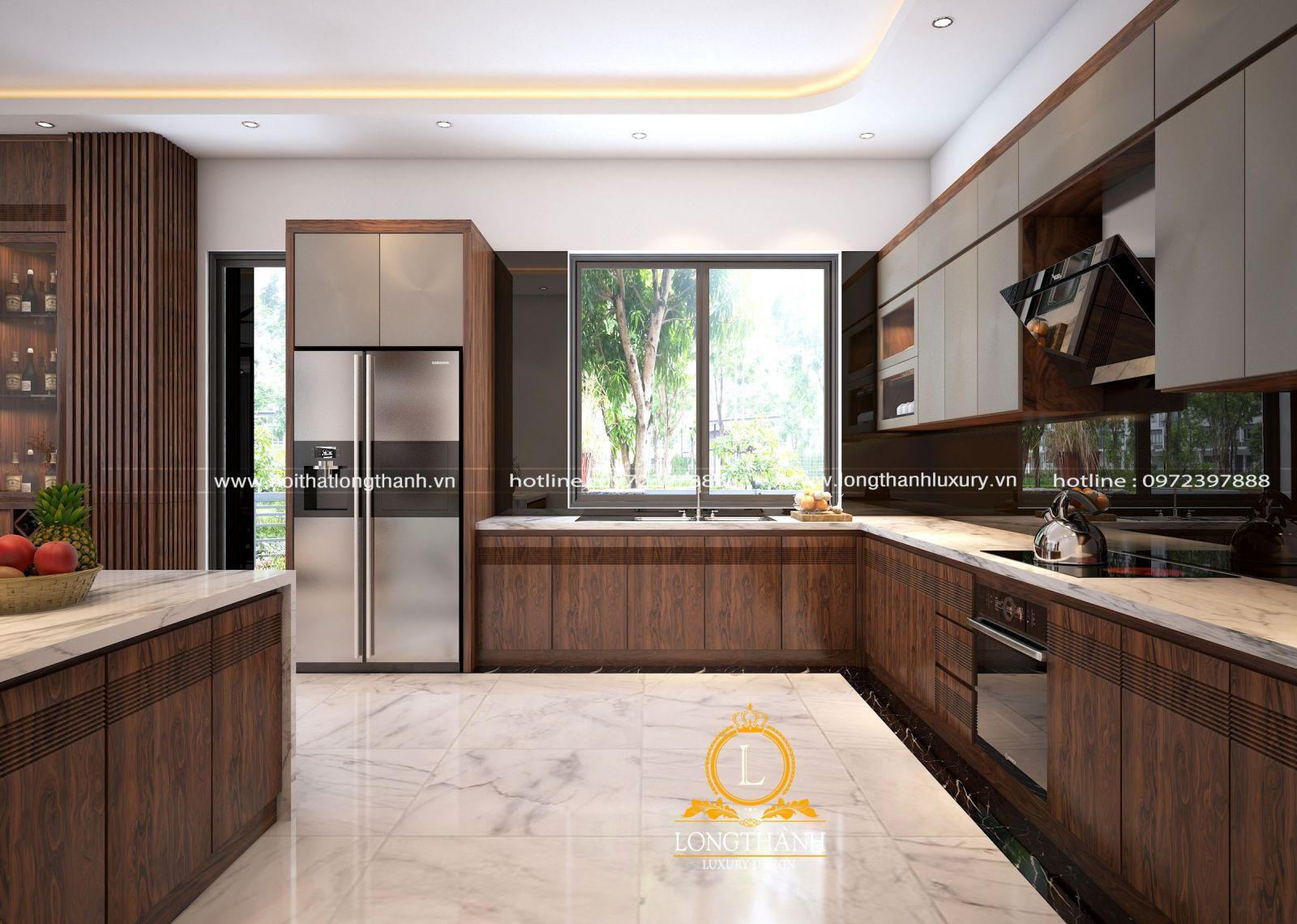 Phòng bếp tone màu nâu gỗ đảm bảo được vẻ đẹp sang trọng và tinh tế cho gia chủ