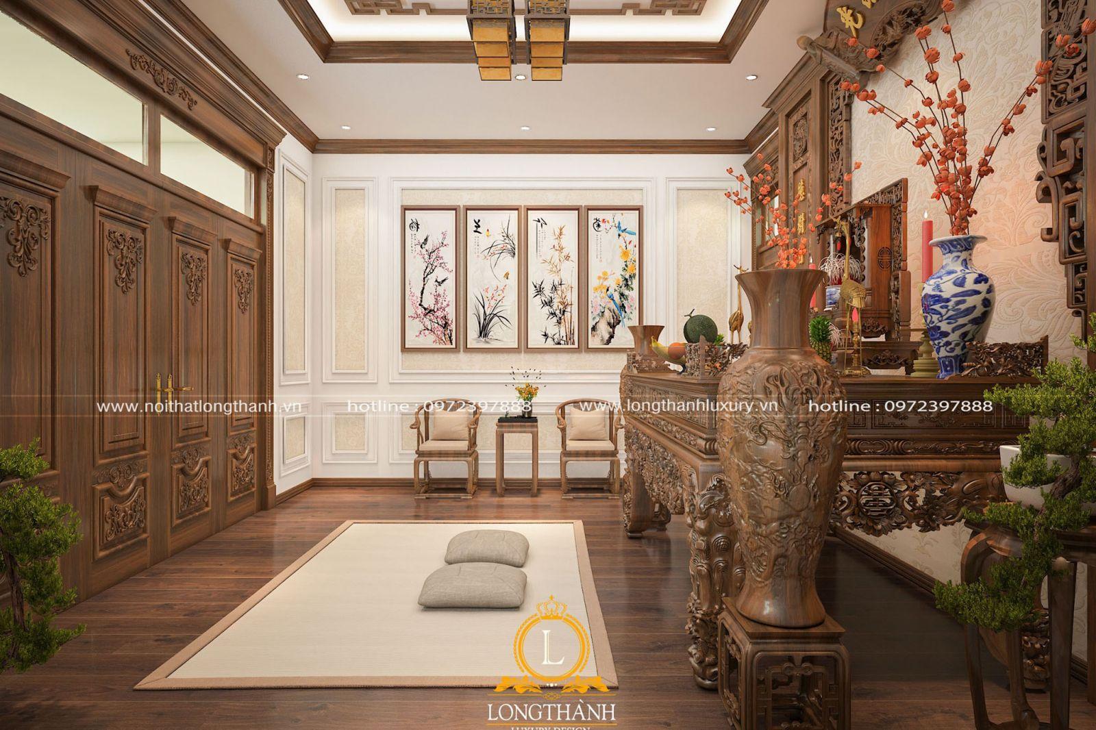 Phòng thờ ấm cúng với thiết kế tân cổ điển