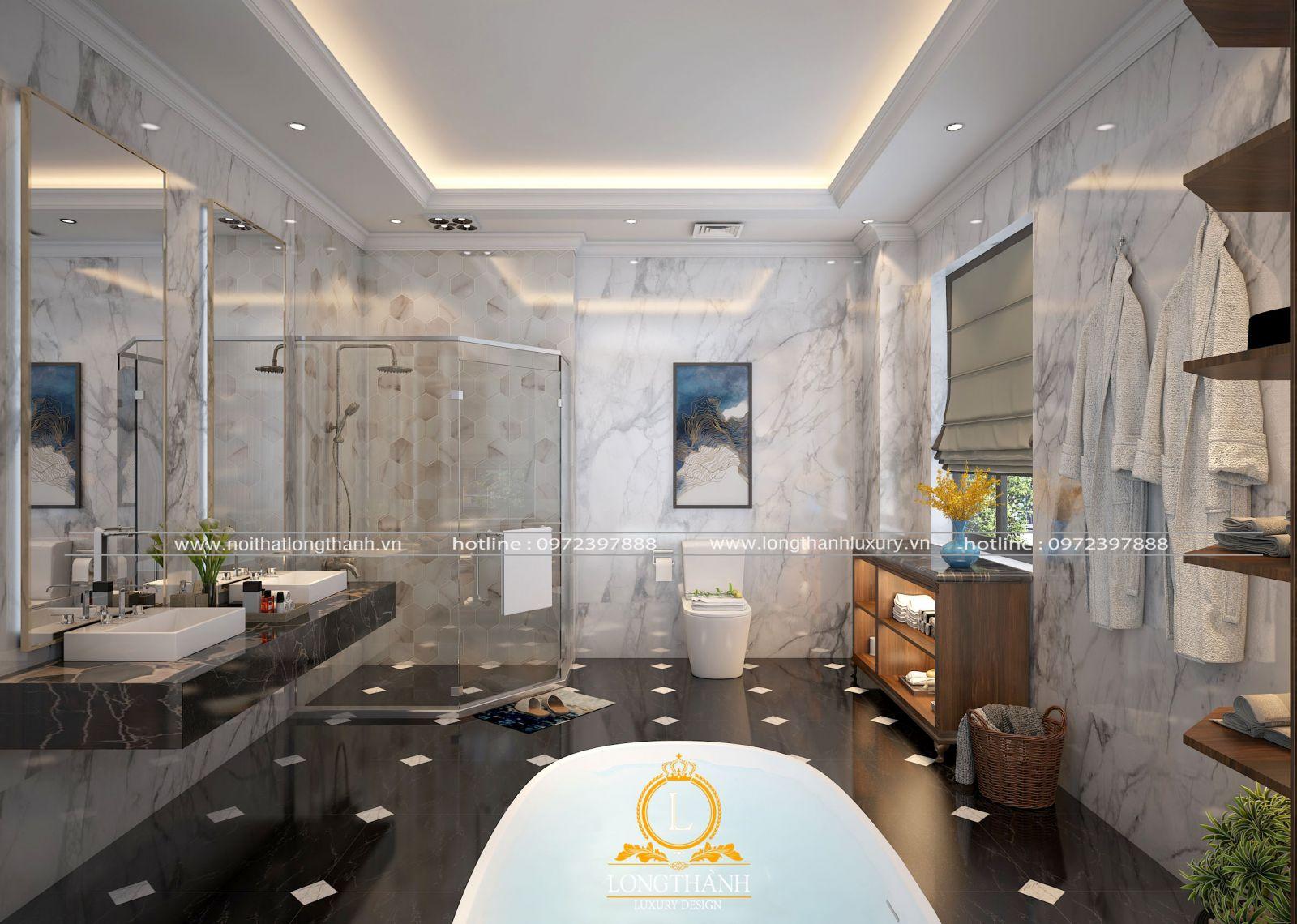 phòng tắm tân cổ điển của nội thất Long Thành