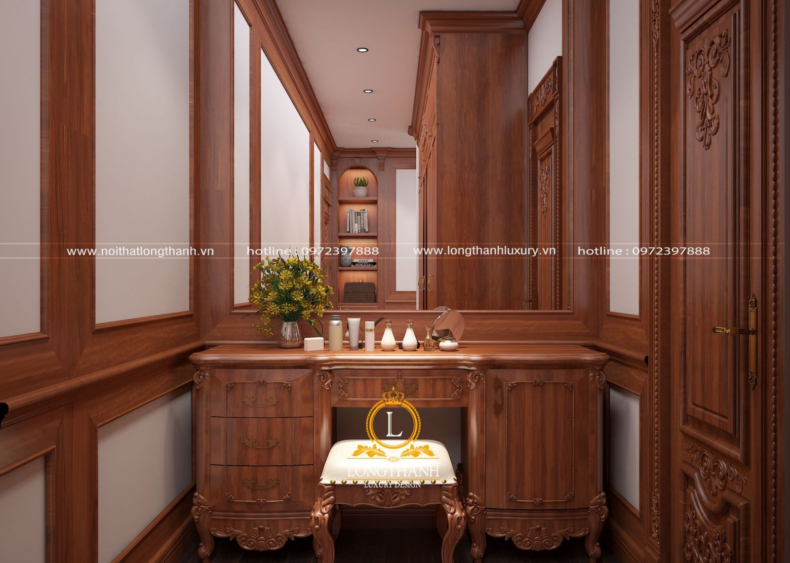 Phòng cưới tiện nghi với mẫu bàn trang điểm