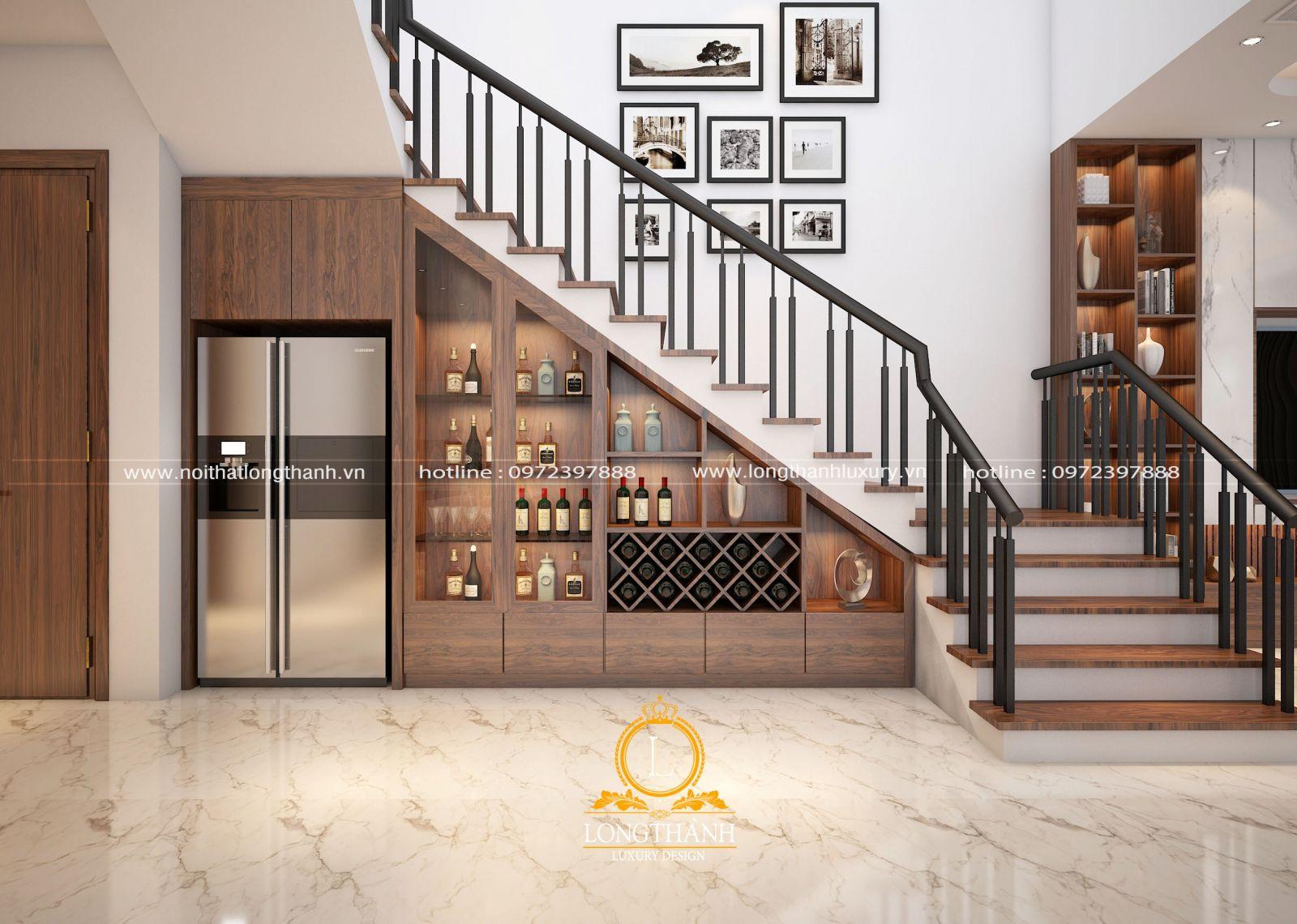Tủ rượu gầm cầu thang tích hợp đầy đủ công năng làm cho ngôi nhà thêm ấn tượng