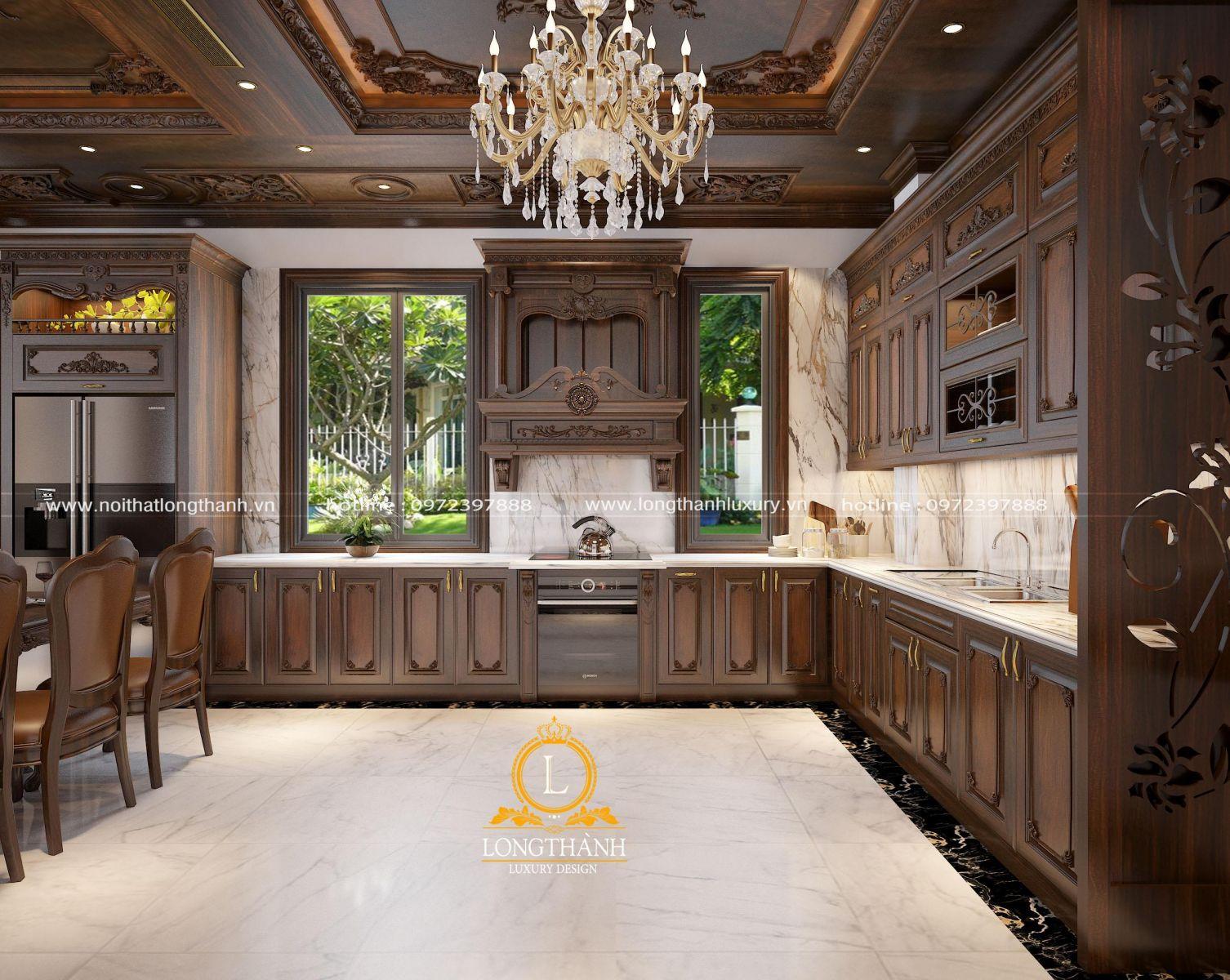 Tủ bếp tân cổ điển với gỗ tự nhiên đẹp mắt
