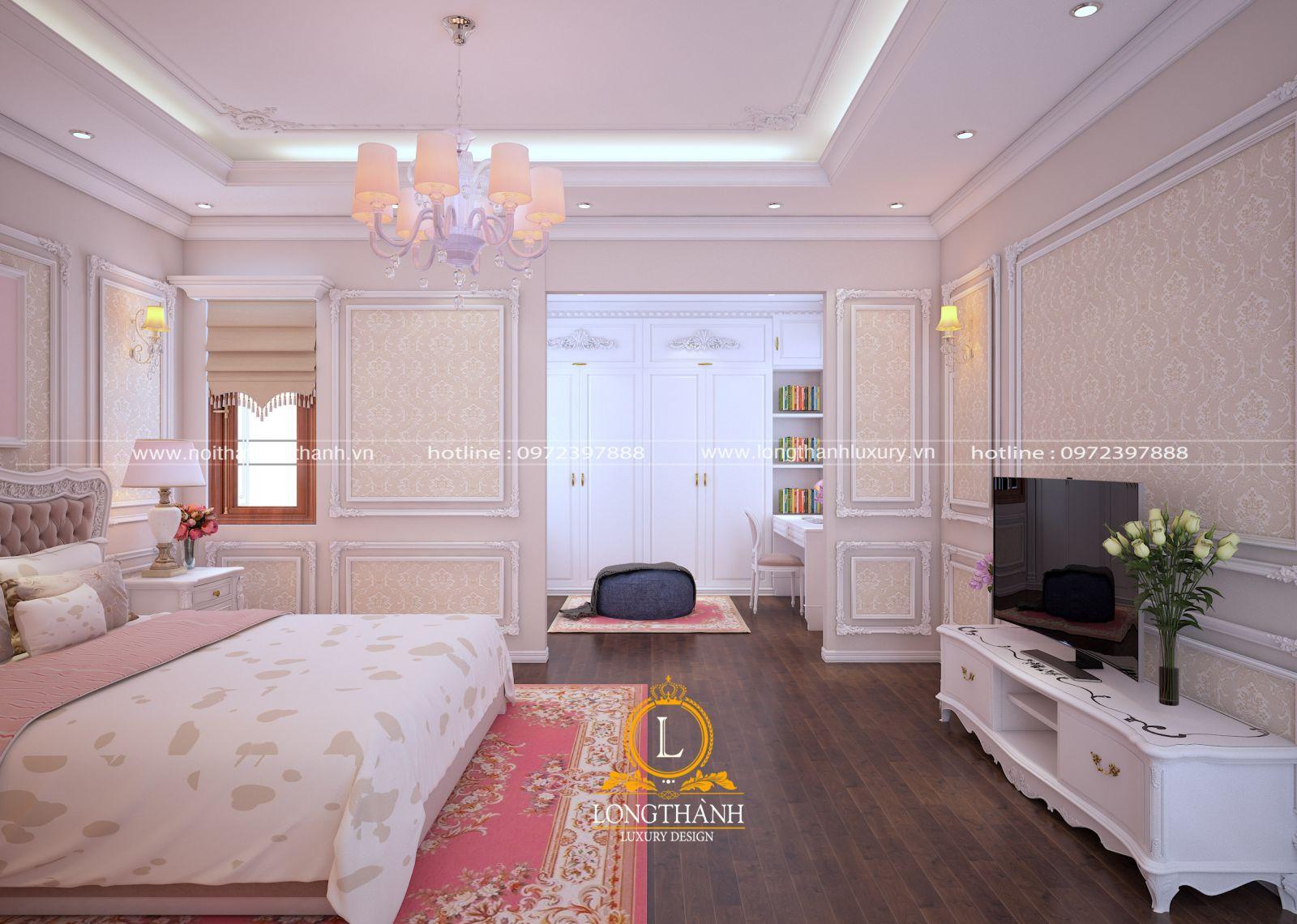 Thiết kế kệ tivi cho phòng ngủ hiện đại màu trắng