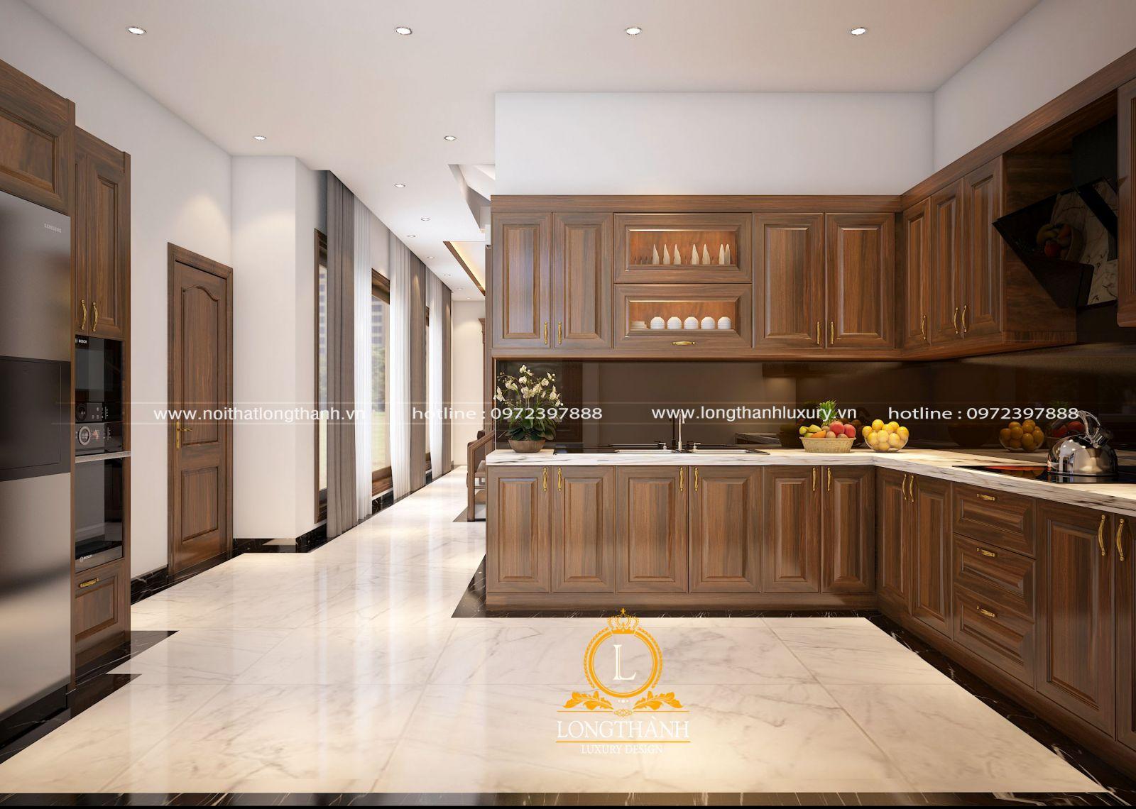 Nhà bếp sang trọng với chất liệu gỗ tự nhiên kết hợp mặt bếp làm từ đá hoa cương cao cấp