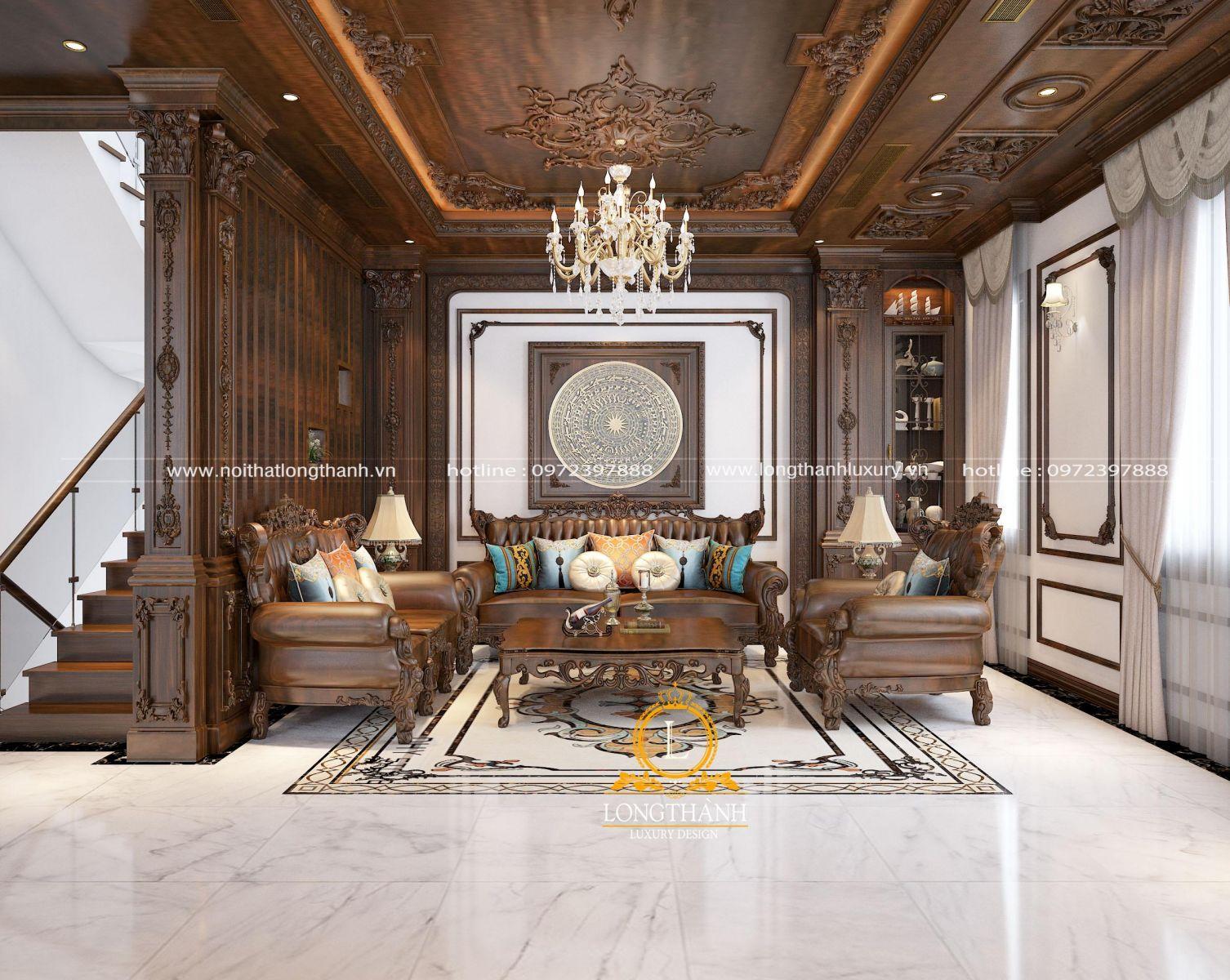 Phòng khách tân cổ điển với nội thất tone màu nâu gỗ