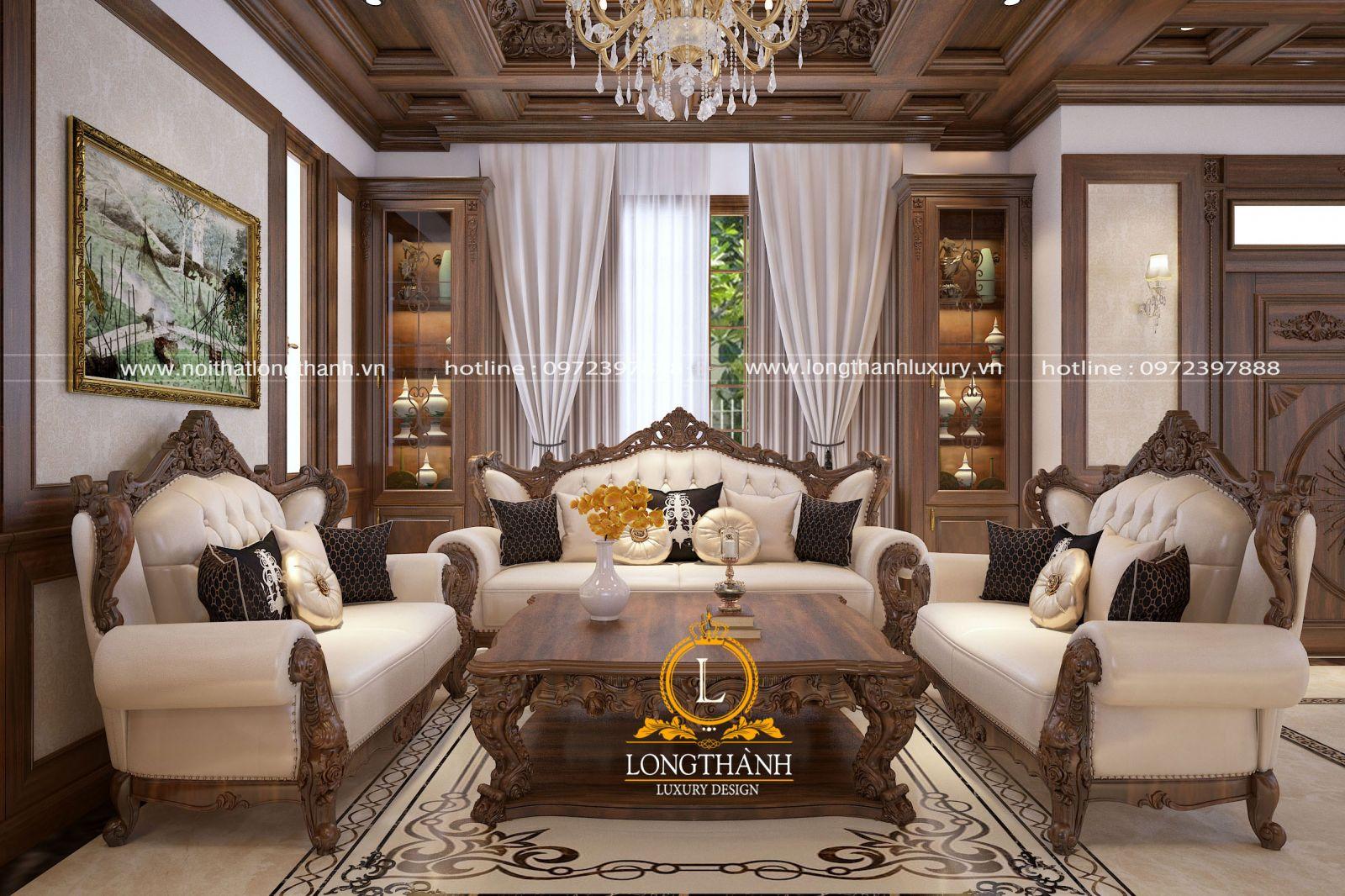 Bộ sofa bọc da được thiết  kế với dấu ấn tân cổ điển
