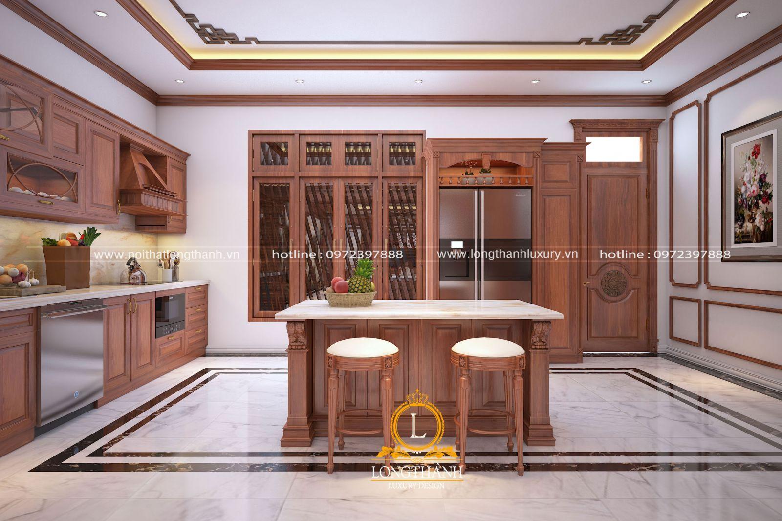 Bàn đảo bếp đẹp được thiết kế nhẹ nhàng mà sang trọng cho nhà bếp