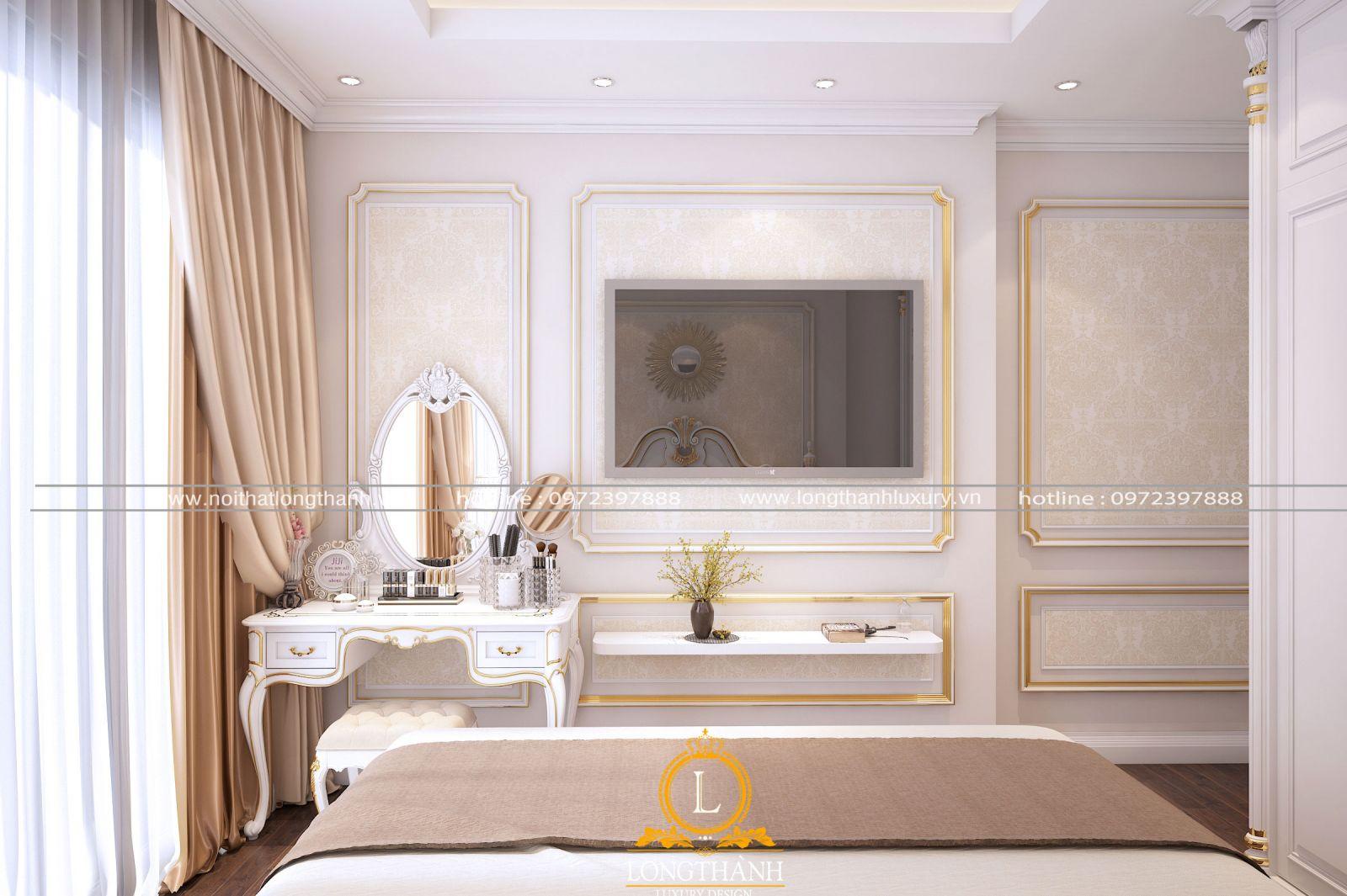 Chiếc bàn phấn được thiết kế cân đối cùng không gian phòng ngủ
