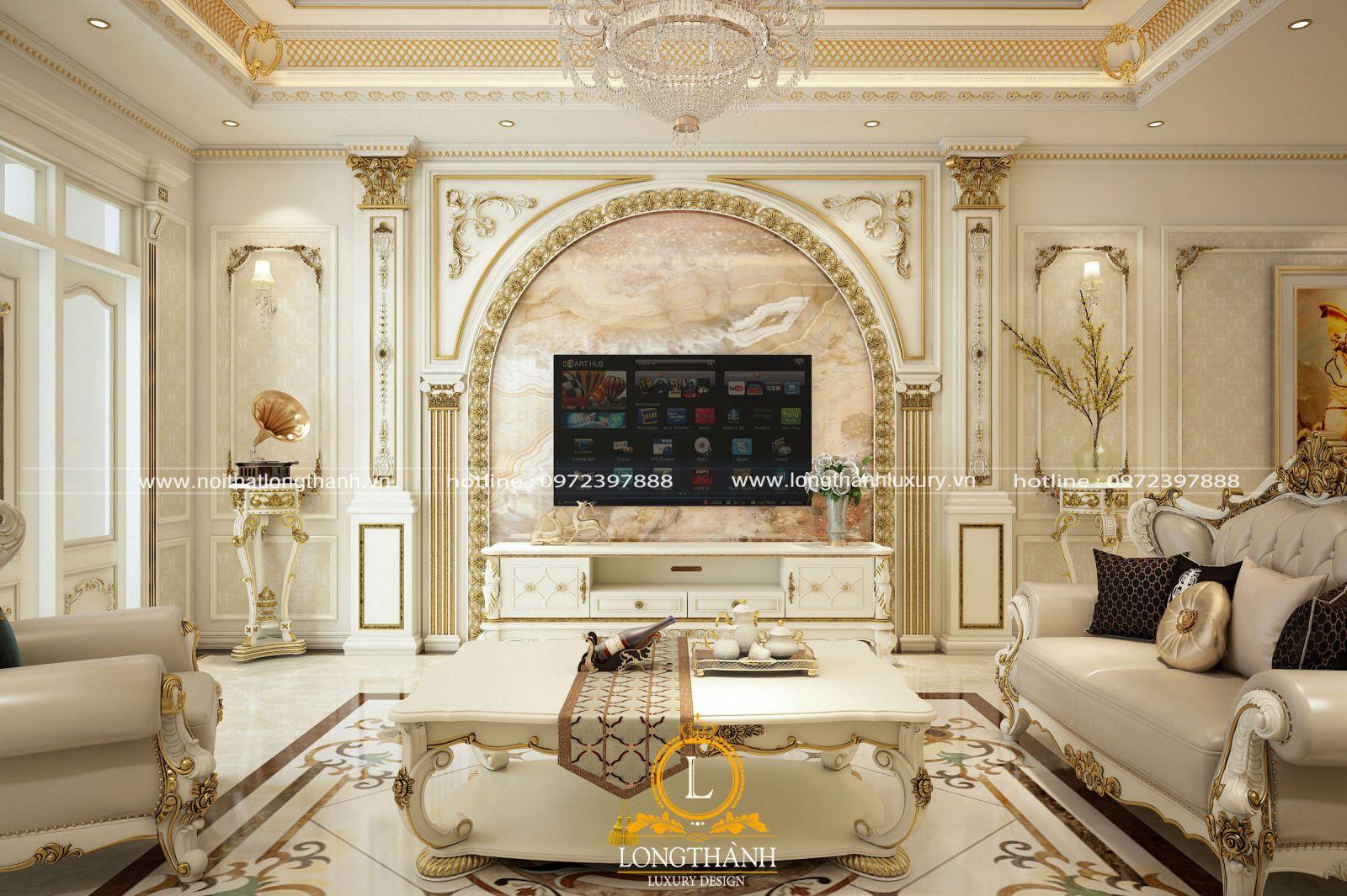 Mẫu sofa sơn trắng với hoa văn chạm khắc cầu kỳ tinh xảo thể hiện sự sang trọng và đẳng cấp không gian phòng khách