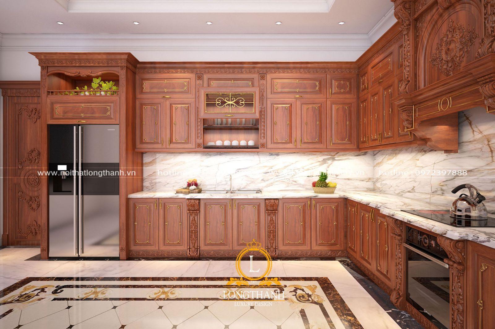 Tủ bếp tân cổ điển chữ L có chức năng thông minh và nhiều ngăn chứa đồ