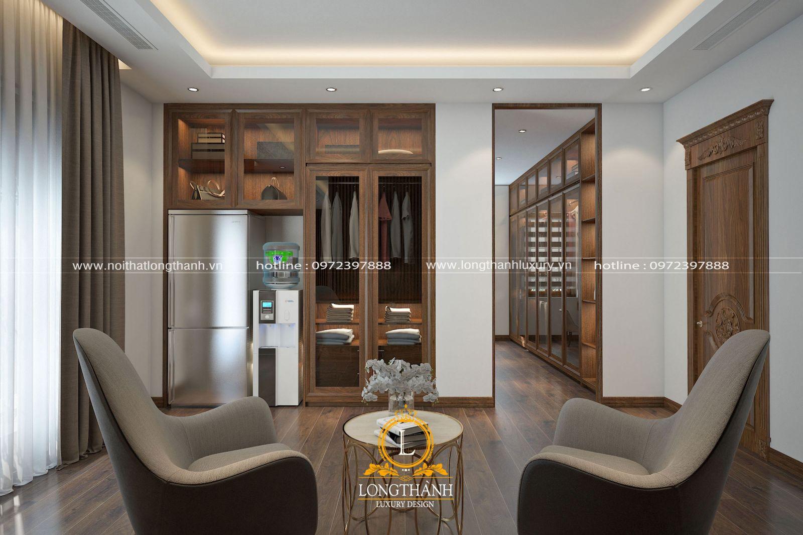 Bộ bàn trà đơn giản được bố trí ngay trong căn phòng ngủ hiện đại có diện tích rộng