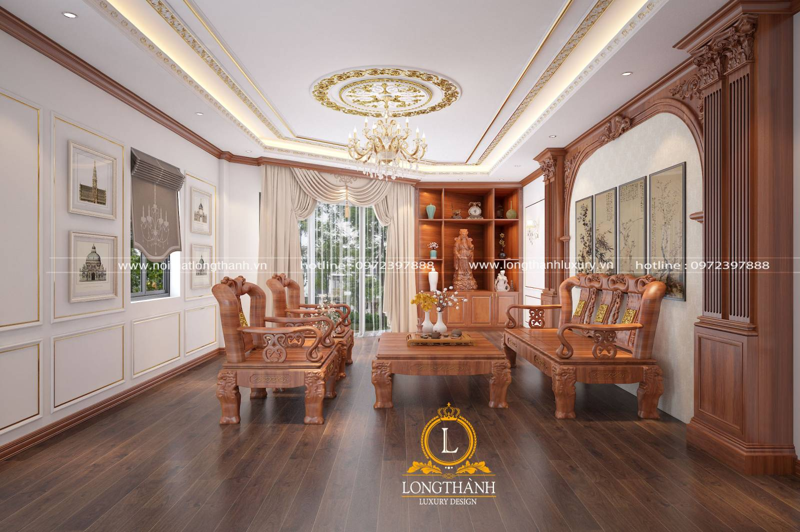 Bộ ghế gỗ hương mang giá trị phong thủy cho ngôi nhà