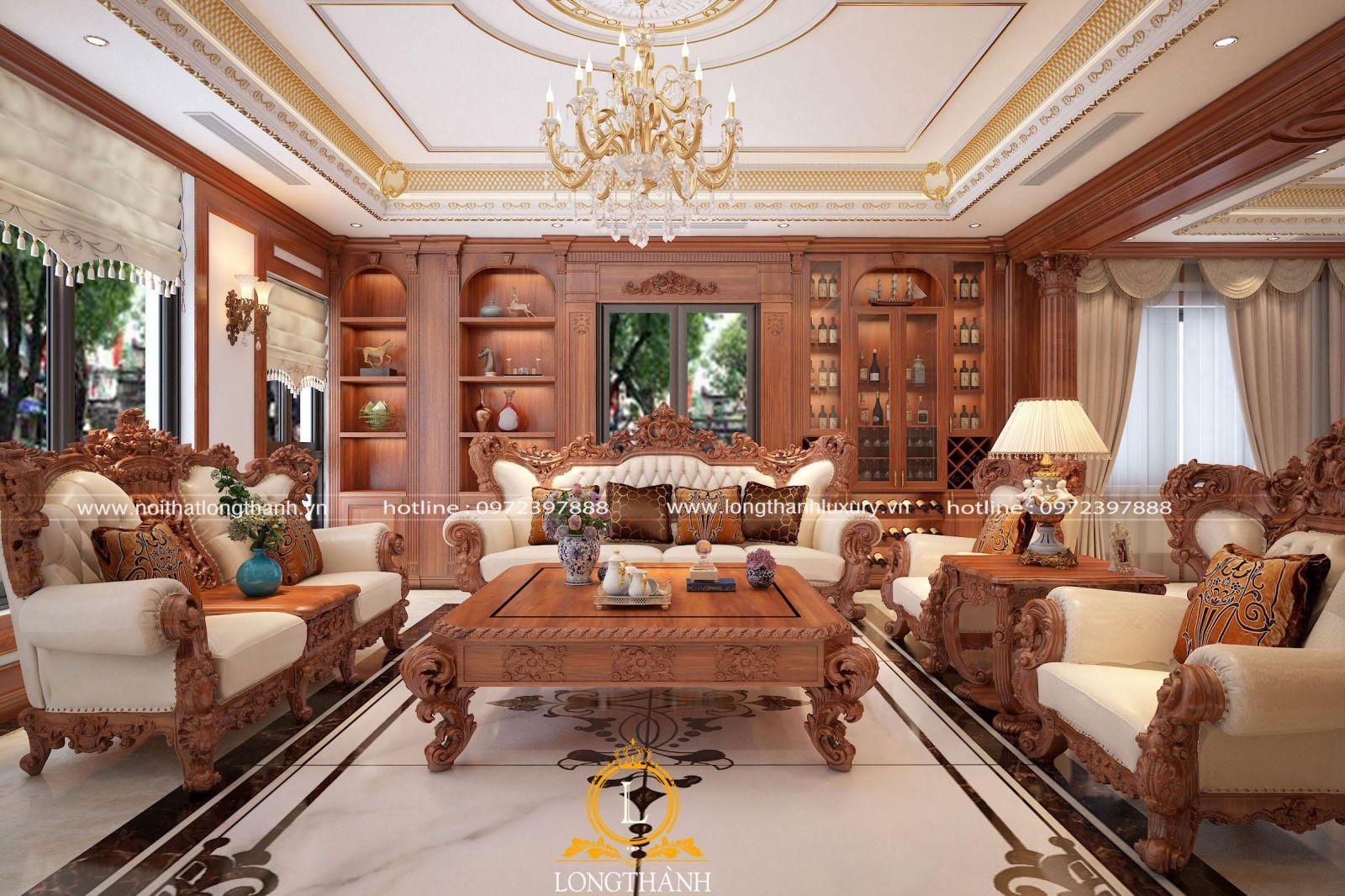 Không gian phòng khách biệt thự đẹp với nội thất gỗ tự nhiên