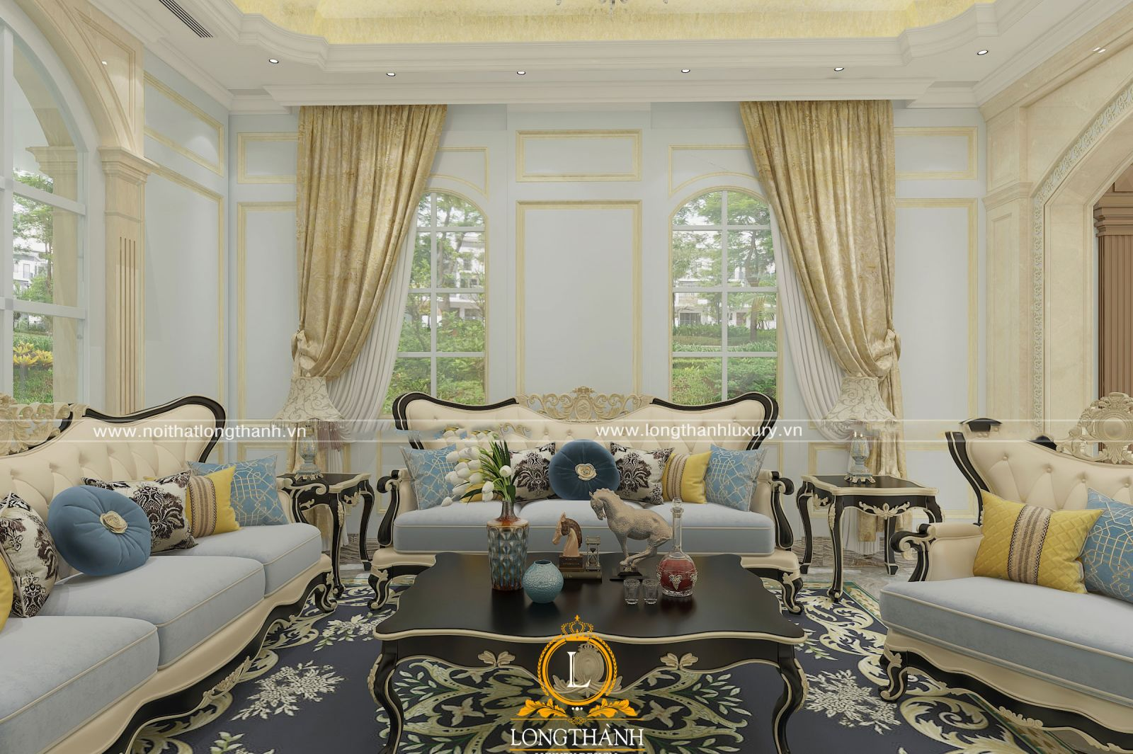 Bộ sofa bọc nỉ được mạ vàng khung gỗ tự nhiên cao cấp