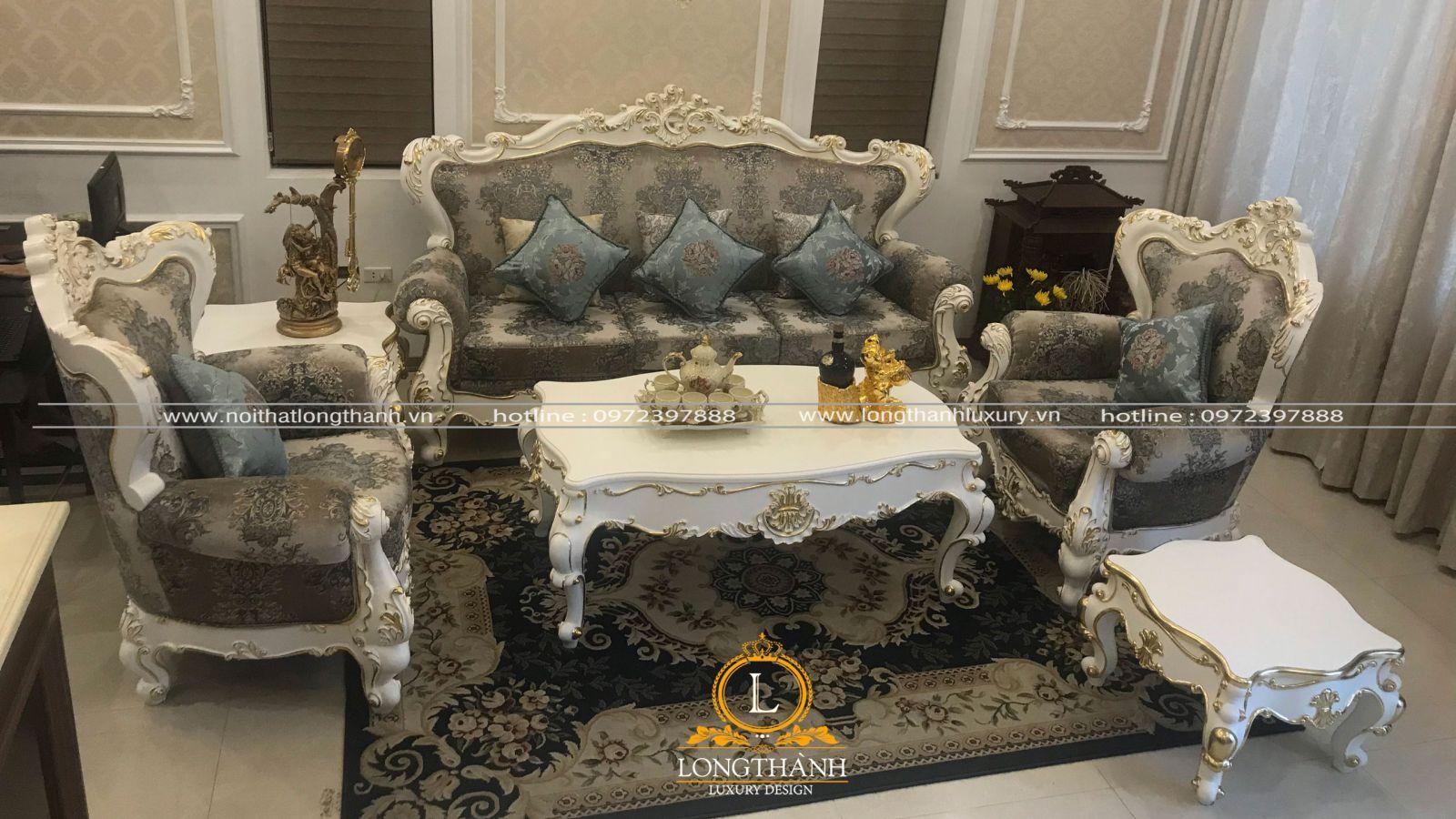 Bộ sofa  tân cổ điển được sử dụng chất liệu nỉ cao cấp