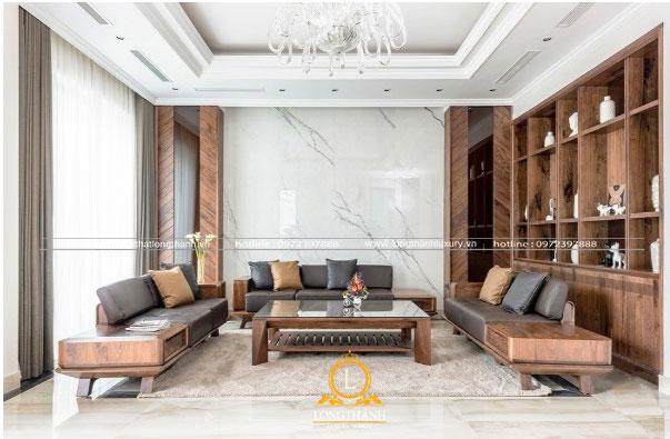 Bộ sofa cao cấp đặt trung tâm phòng khách