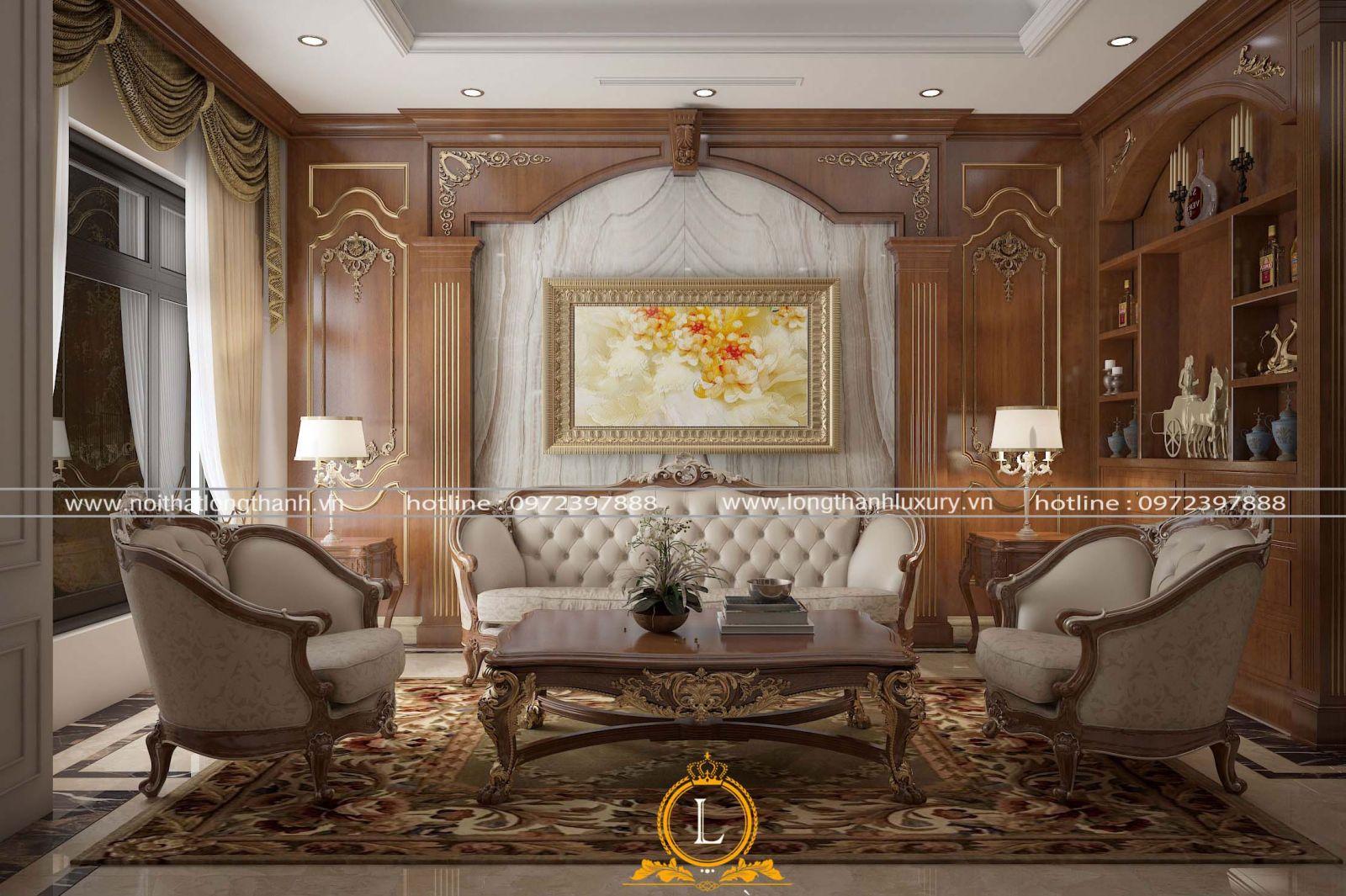 Bộ sofa  tân cổ điển cho nhà ống được kết hợp cân đối cùng gam màu với thảm trải sàn