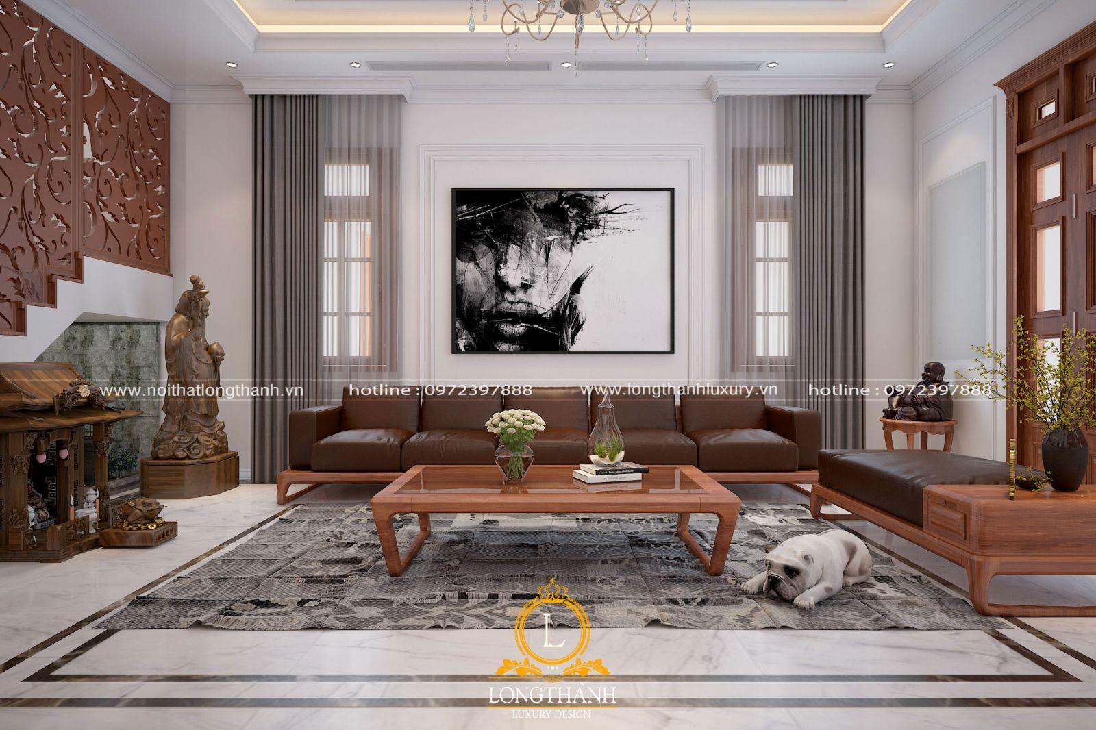 Bộ sofa chữ L được lựa chọn sử dụng trong phòng khách nhà ống