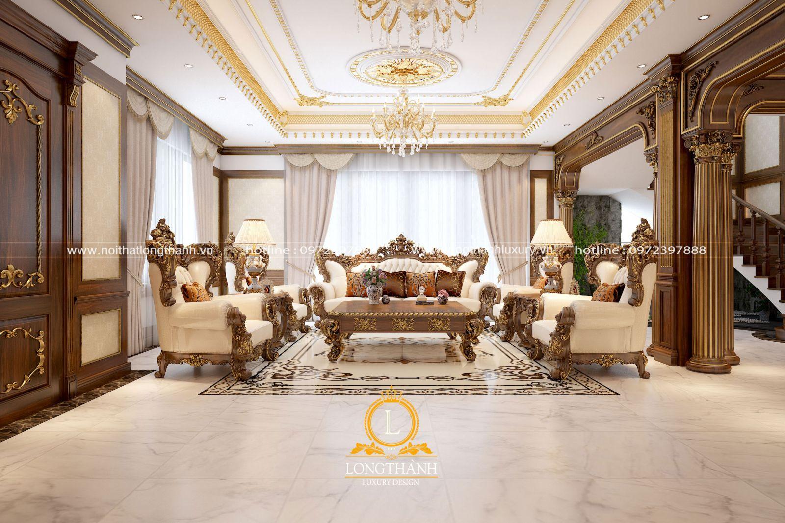 Bộ sofa mạ vàng độc đáo với thiết kế tinh tế cân đối với diện tích phòng khách