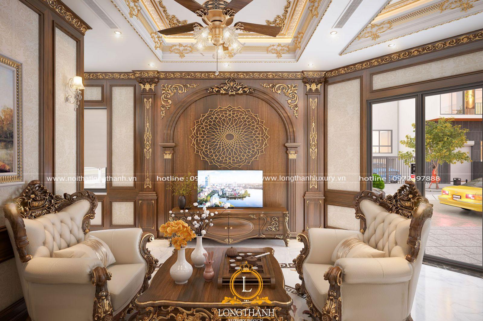 Sofa gỗ kết hợp da cho không gian phòng khách nhà phố hẹp