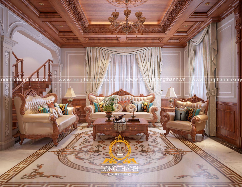 bộ sofa tân cổ điển được thiết kế và bố trí phù hợp với không gian