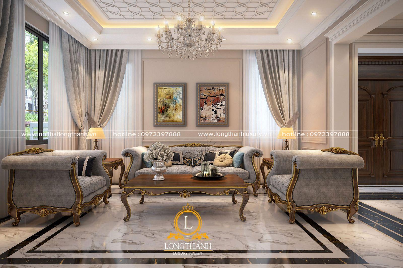 Hệ trần phòng khách được thiết kế độc đáo phù hợp với sự trẻ trung cùng đồ nội thất trong phòng