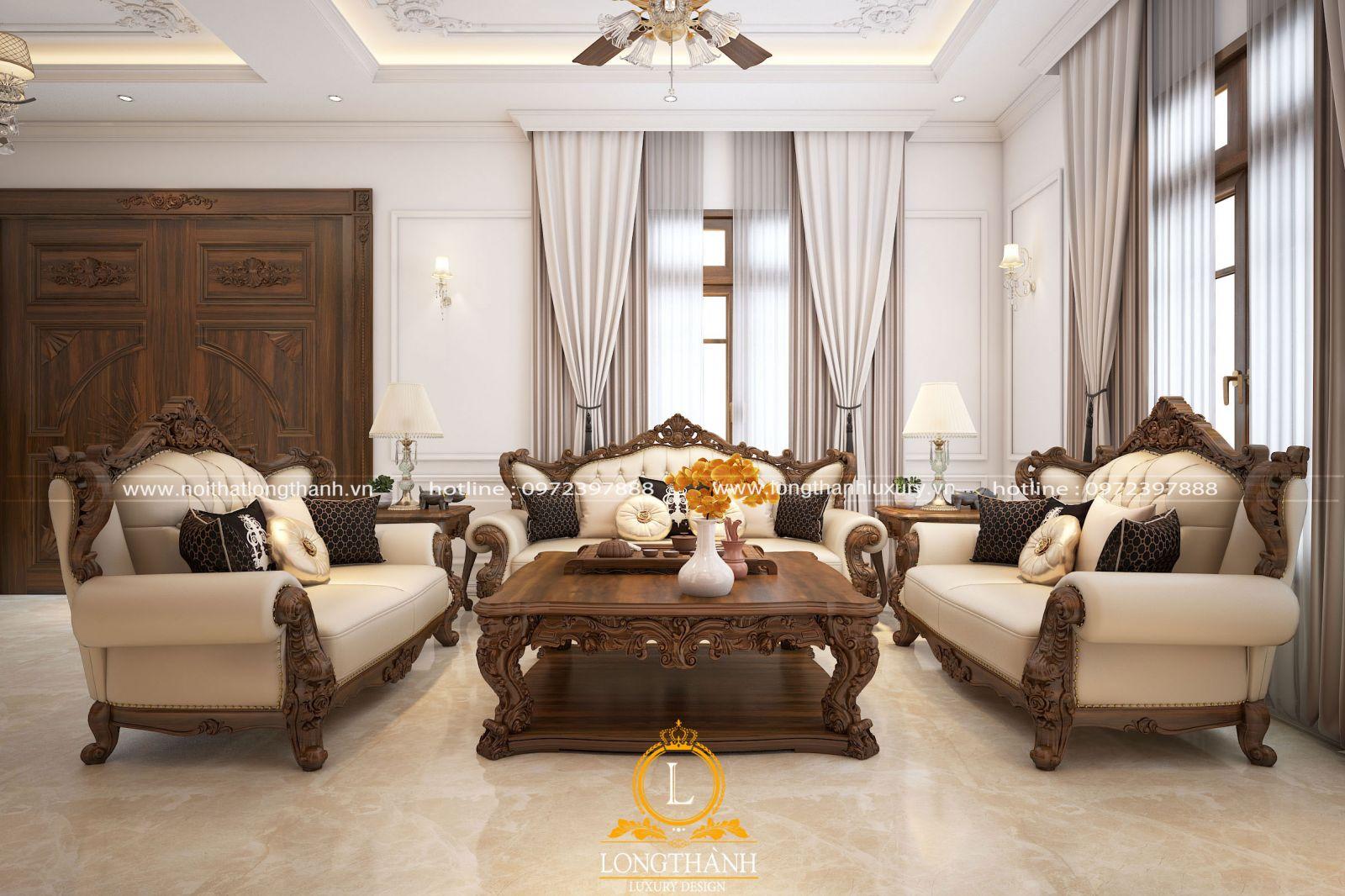 Phòng khách nhà biệt thự phong cách tân cổ điển kết hợp hiện đại