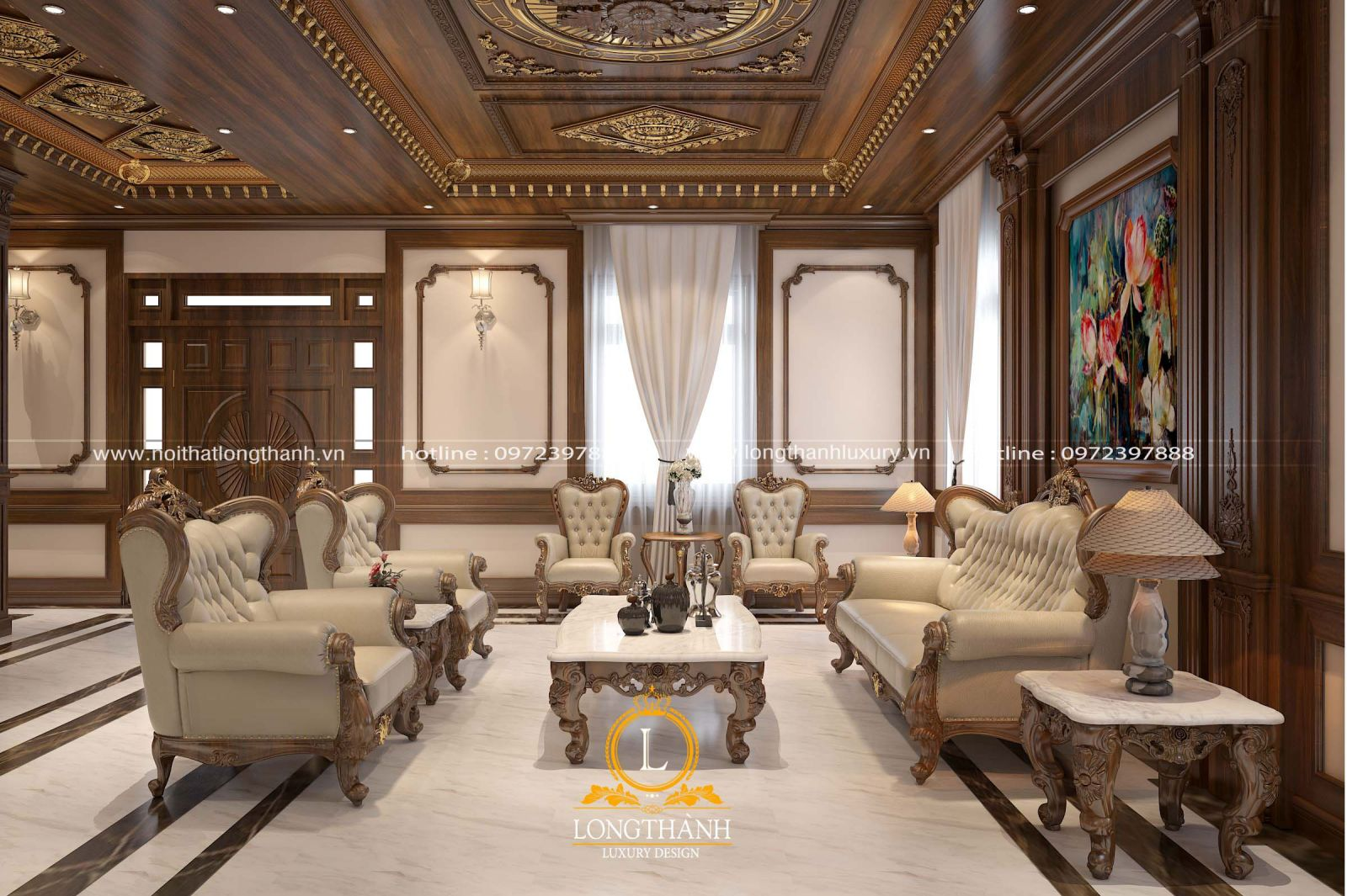 Bộ sofa được sử dụng chất lượng gỗ tự nhiên và da tự nhiên cao cấp