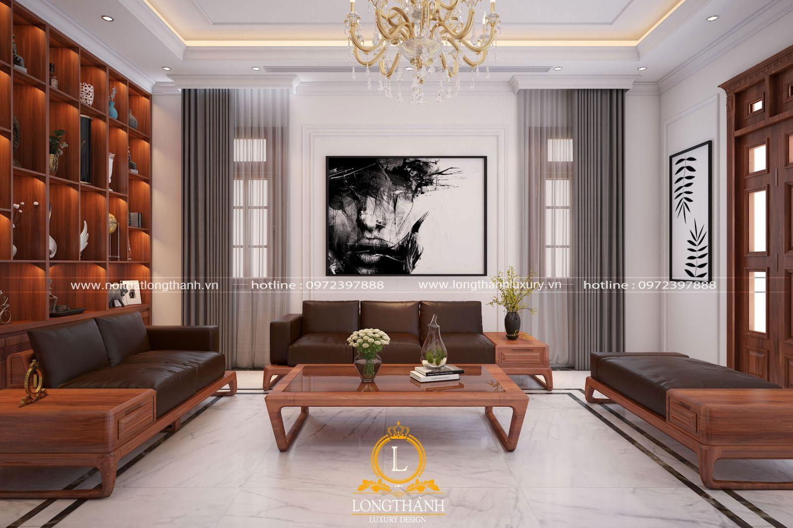 Phòng khách hiện đại với gam màu trắng trên các diện trần tường